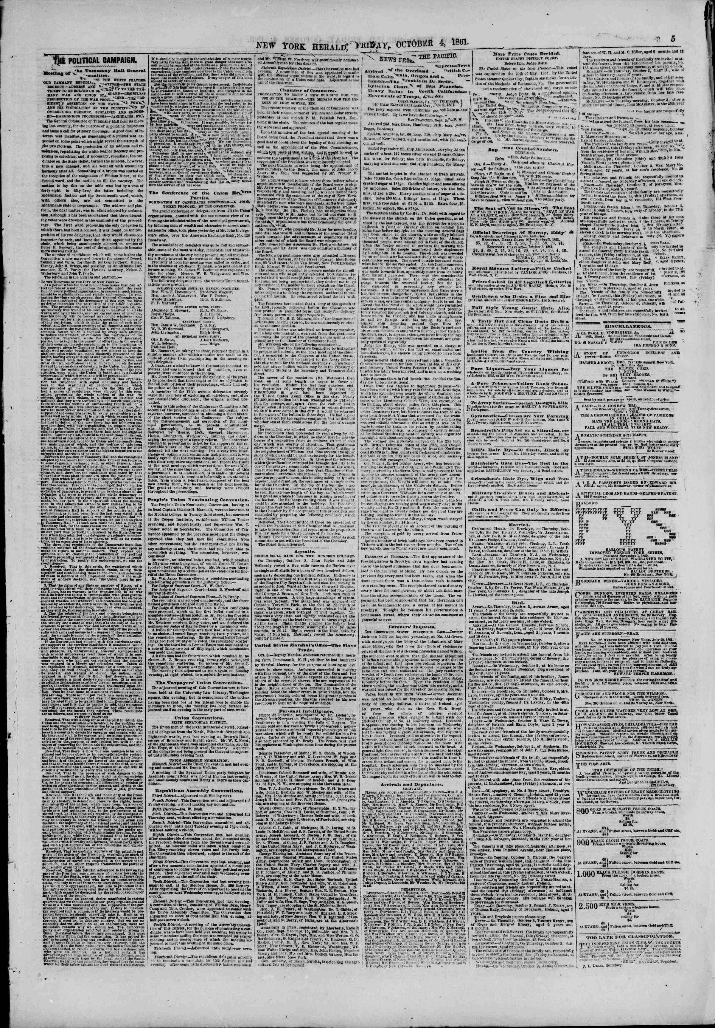 Newspaper of The New York Herald dated October 4, 1861 Page 5