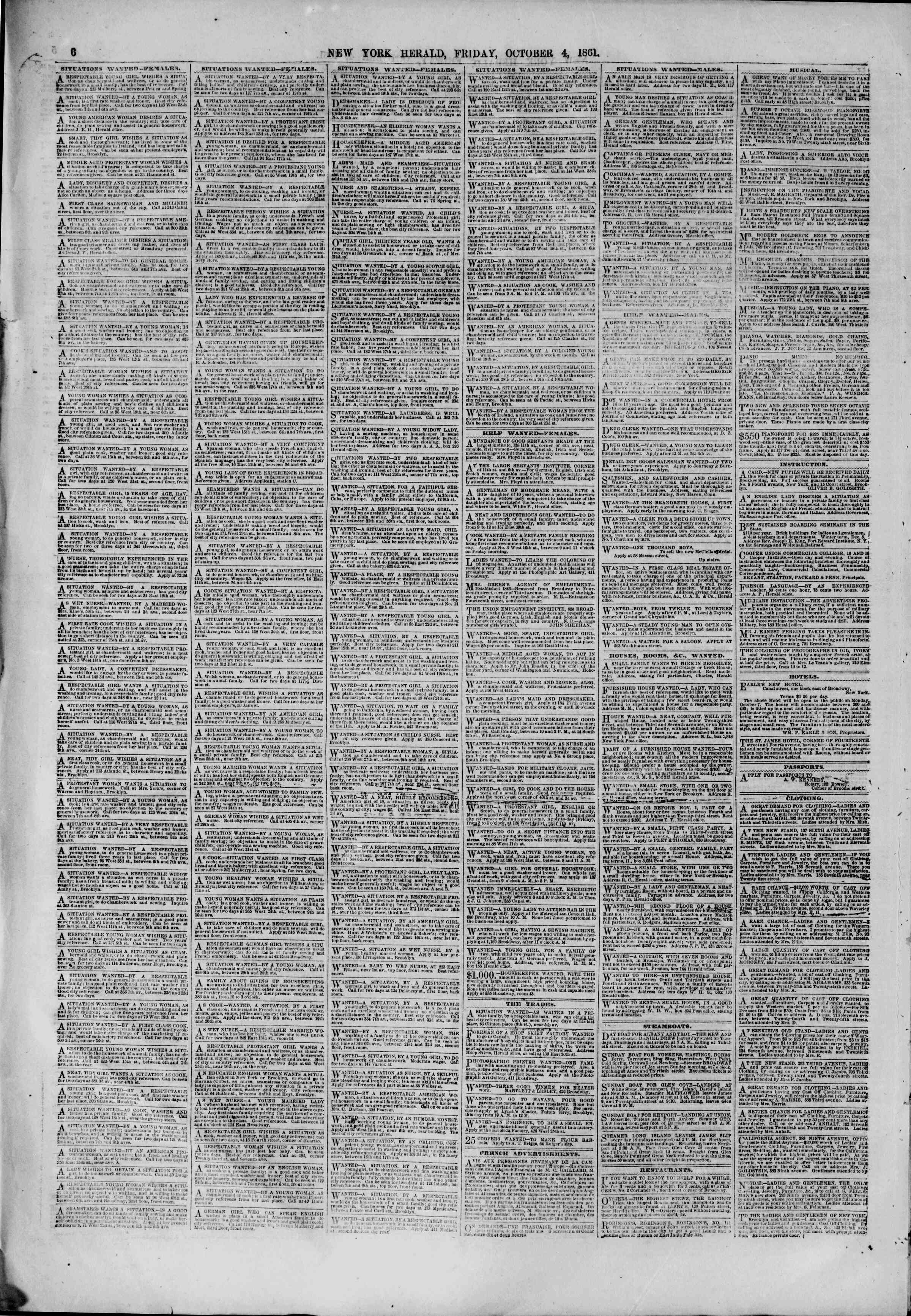Newspaper of The New York Herald dated October 4, 1861 Page 6