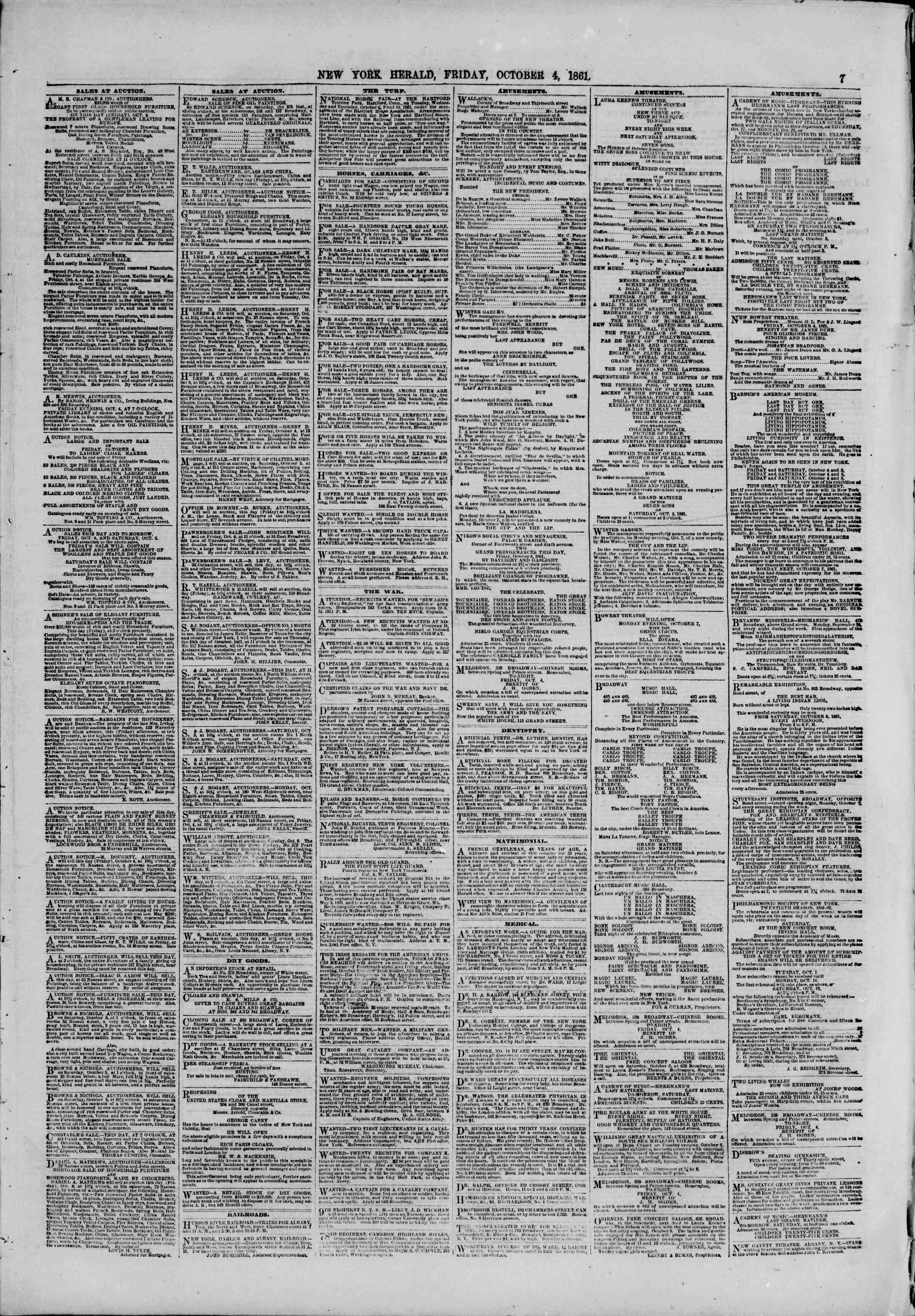 Newspaper of The New York Herald dated October 4, 1861 Page 7