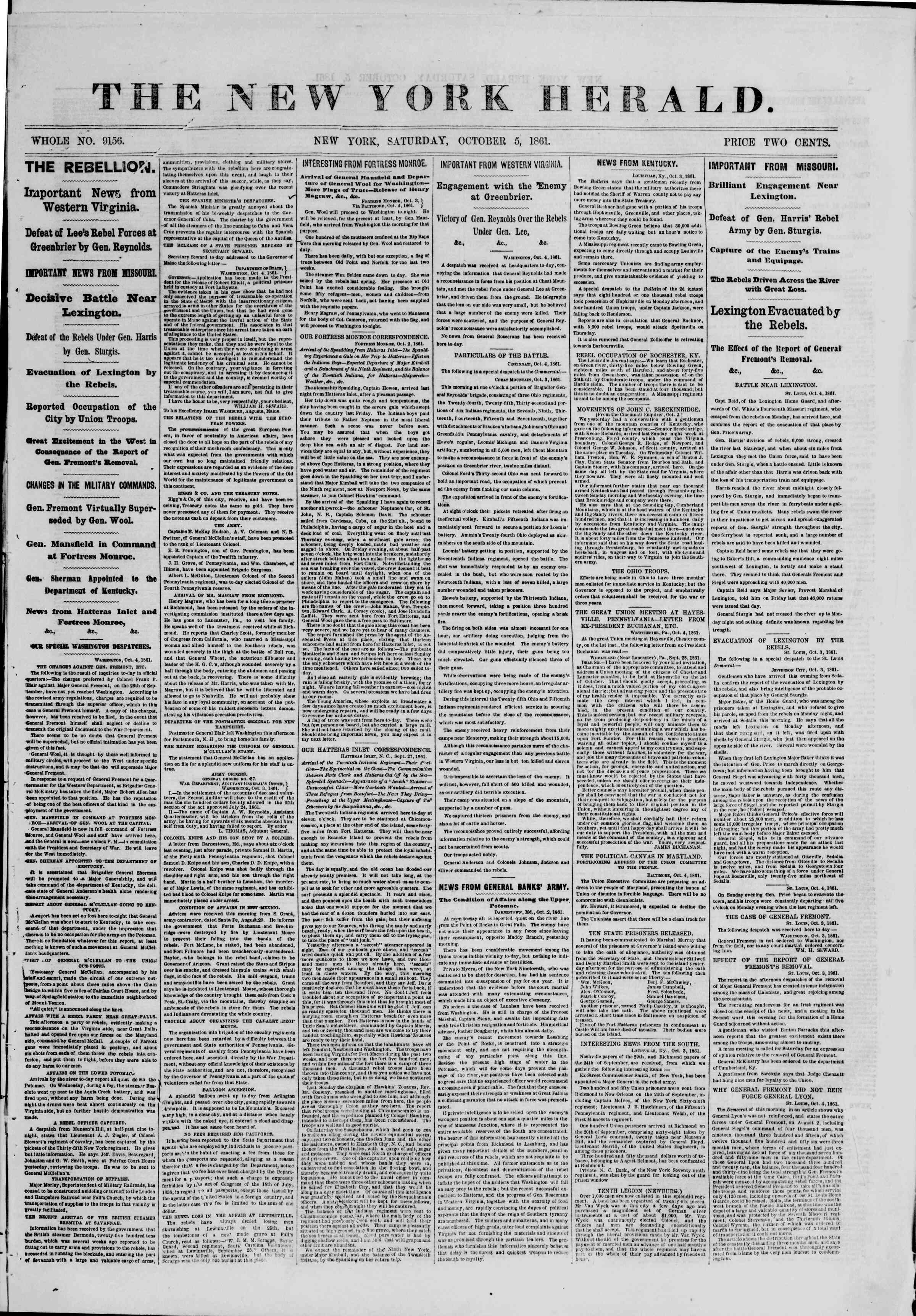 Newspaper of The New York Herald dated October 5, 1861 Page 1