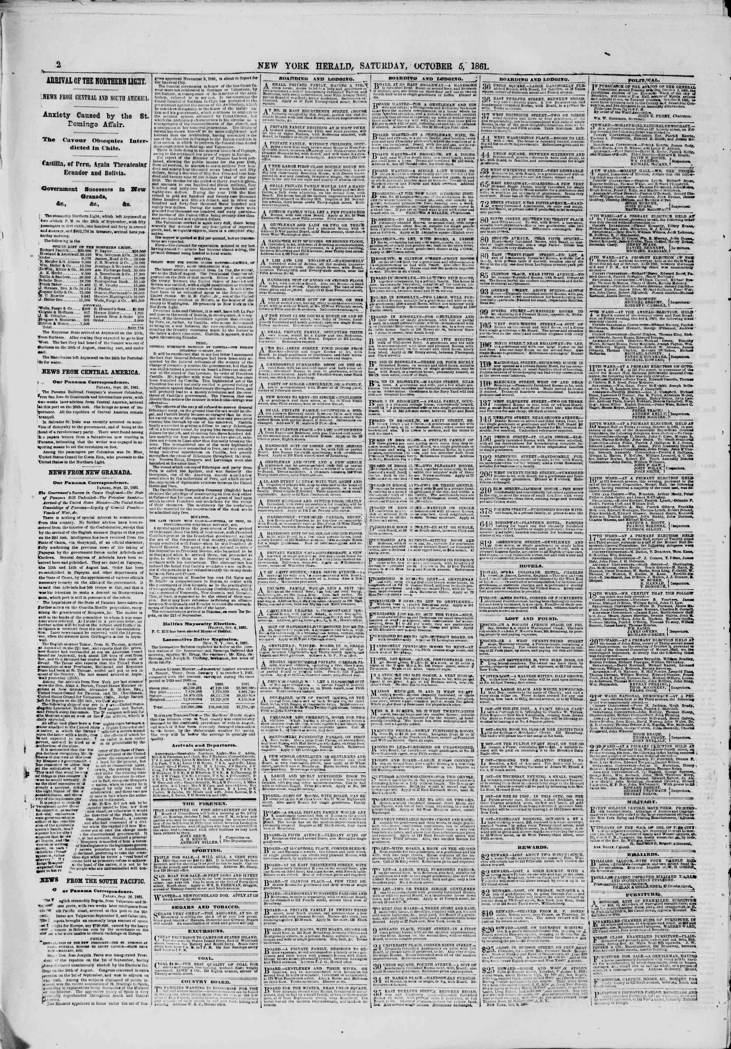 Newspaper of The New York Herald dated October 5, 1861 Page 2