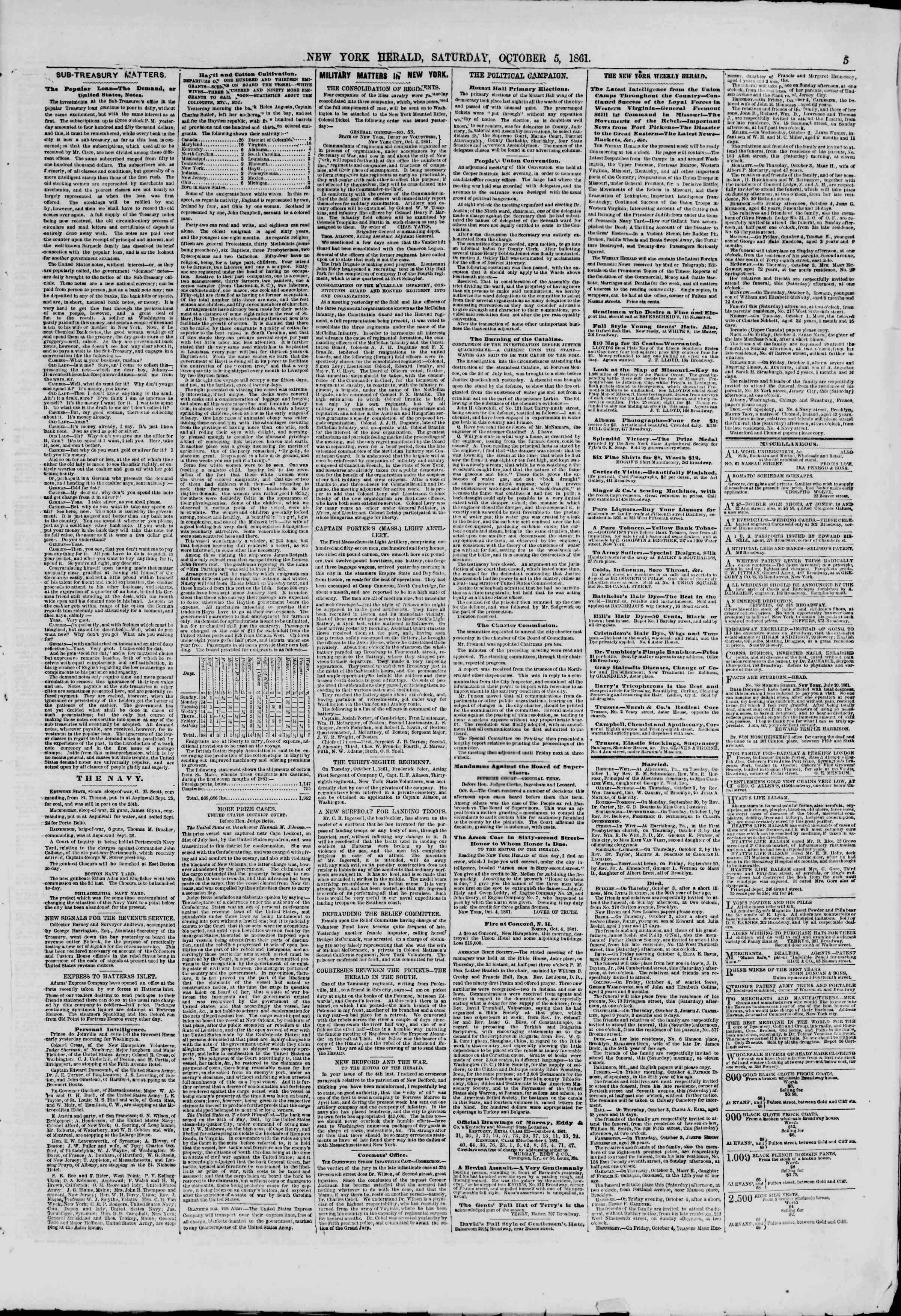 Newspaper of The New York Herald dated October 5, 1861 Page 5