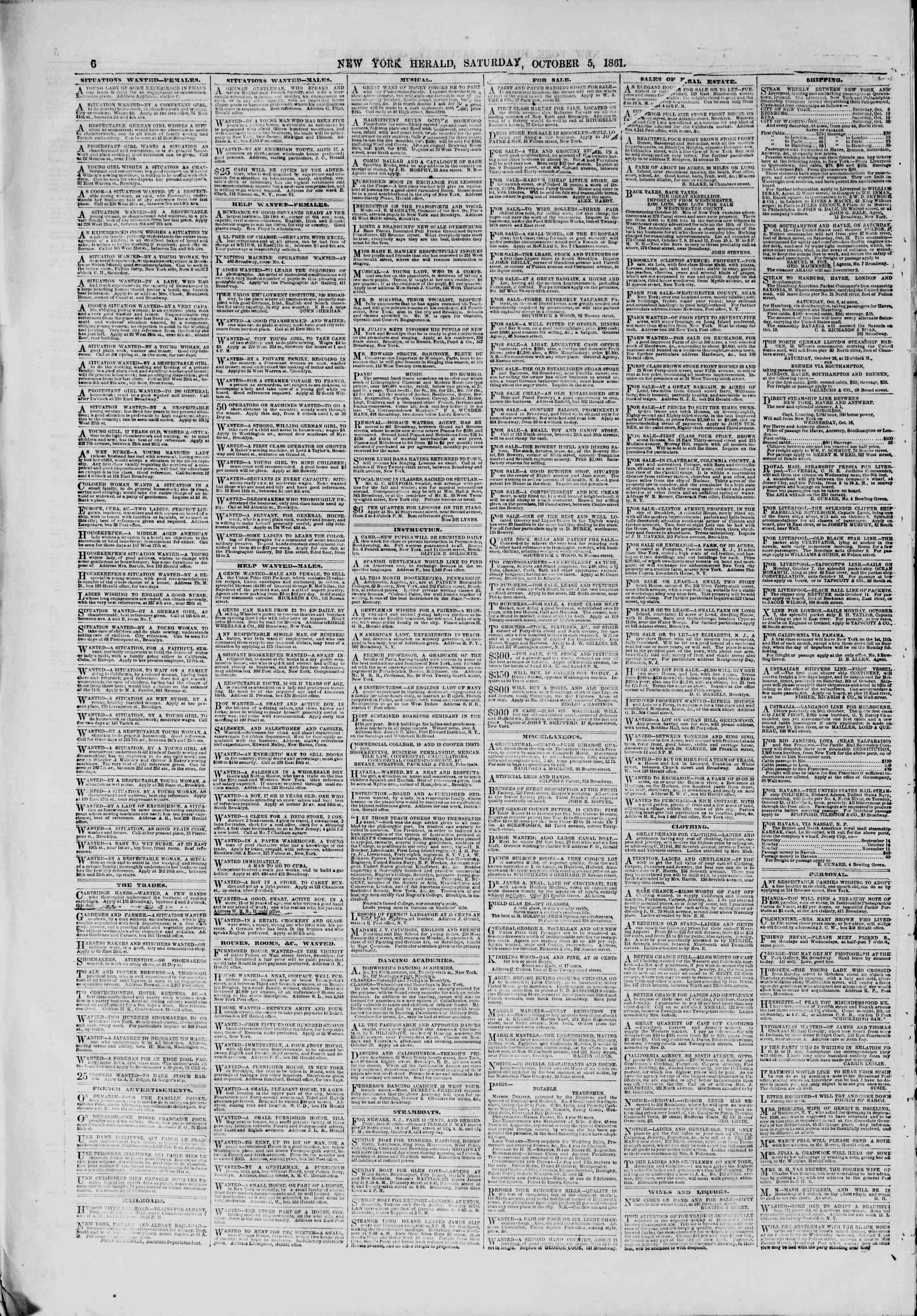 Newspaper of The New York Herald dated October 5, 1861 Page 6