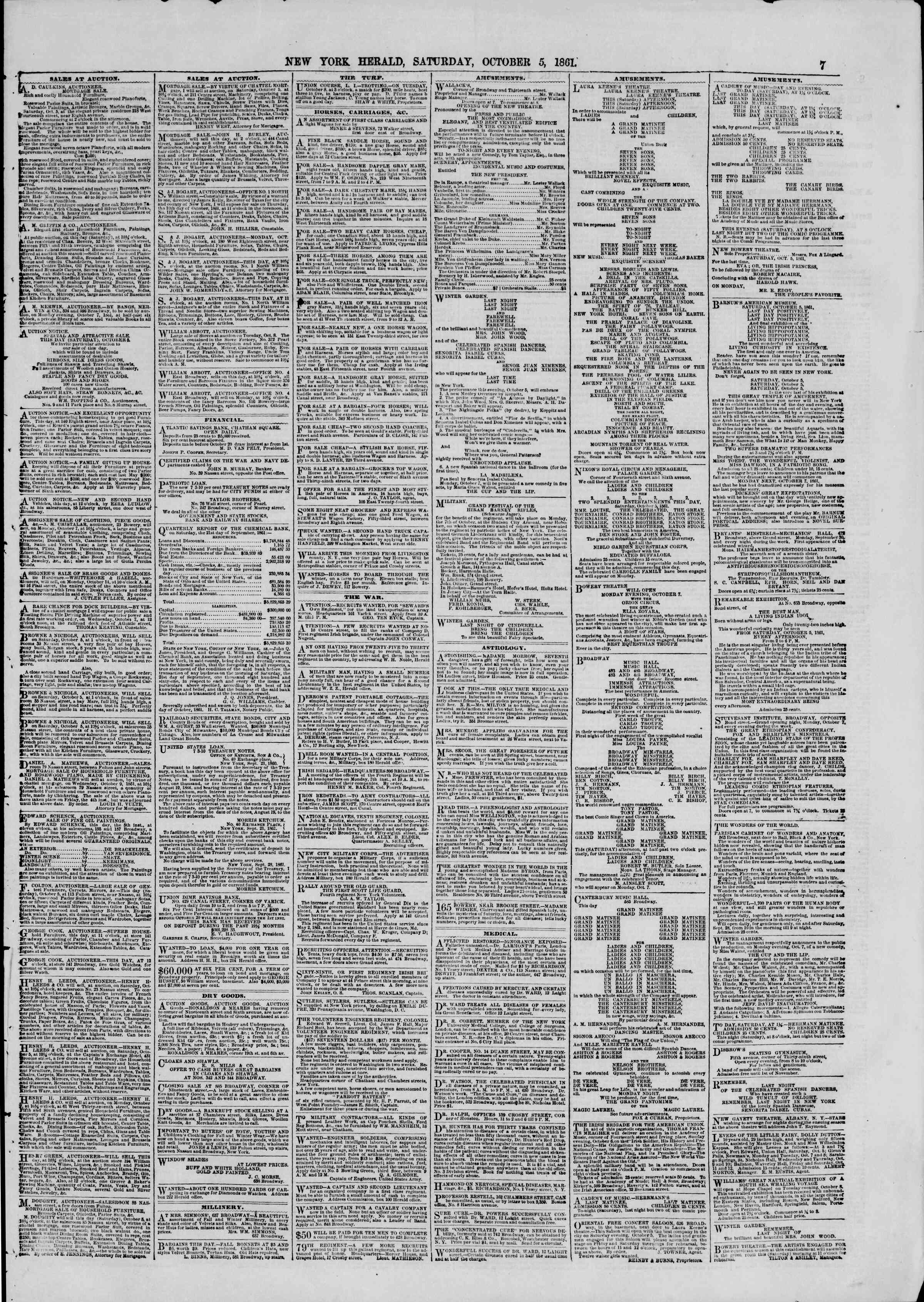 Newspaper of The New York Herald dated October 5, 1861 Page 7