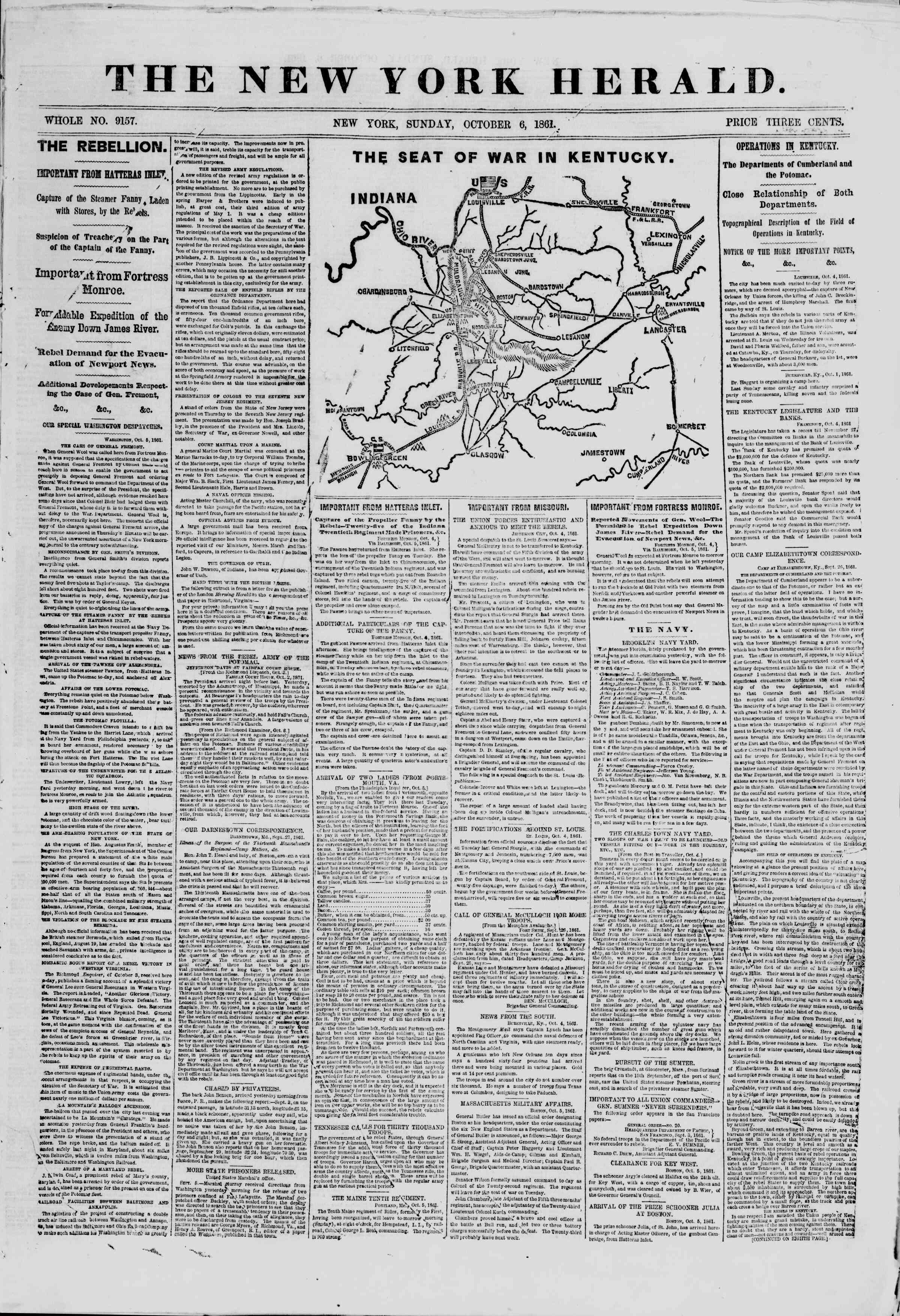 Newspaper of The New York Herald dated October 6, 1861 Page 1