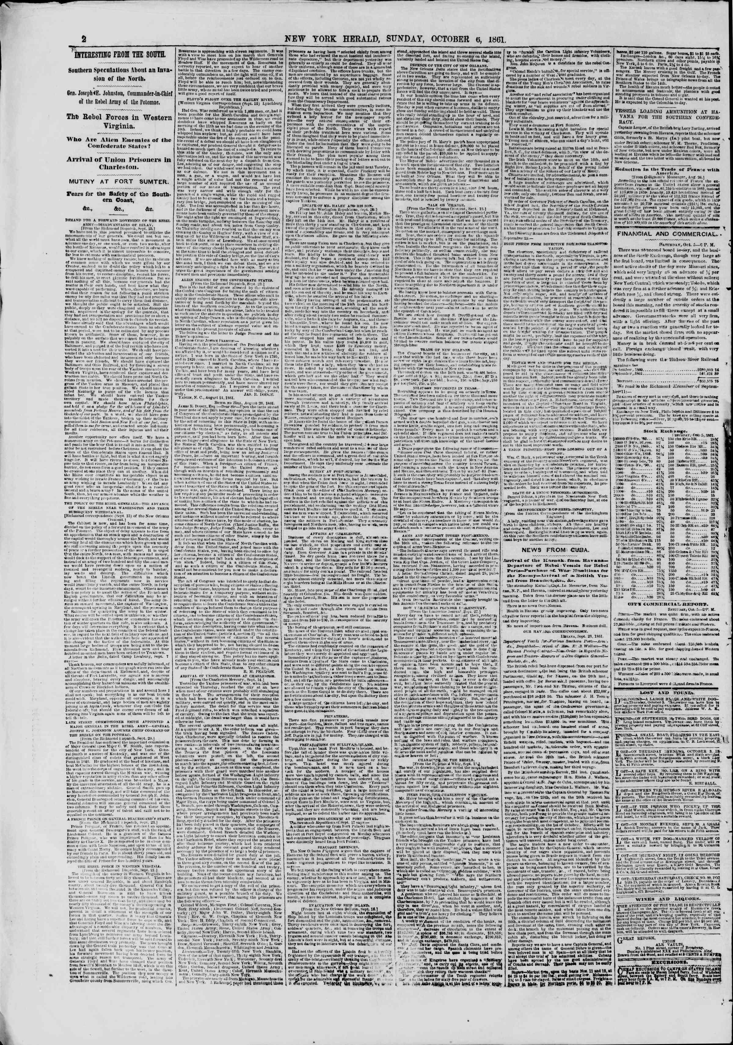 Newspaper of The New York Herald dated October 6, 1861 Page 2