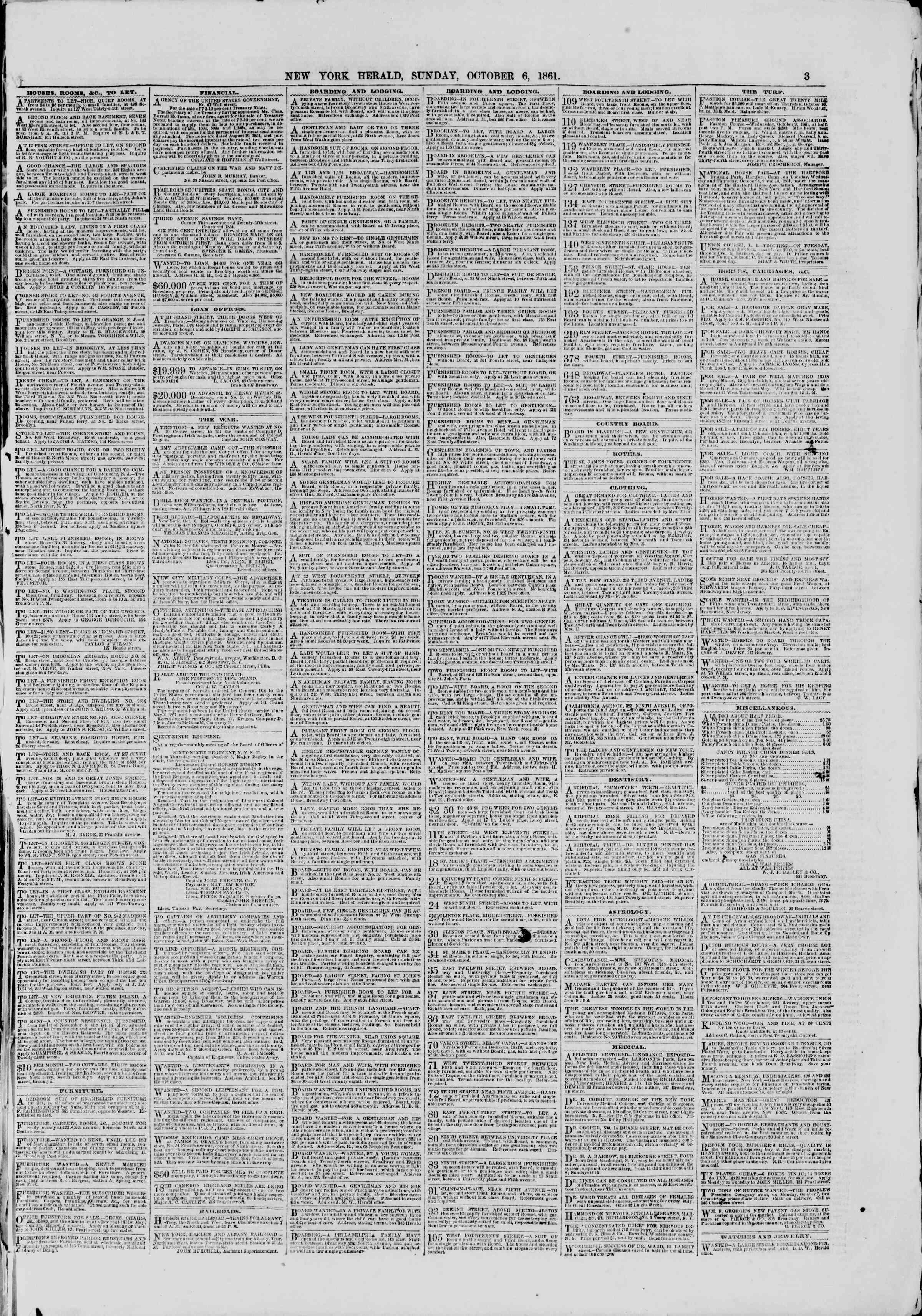 Newspaper of The New York Herald dated October 6, 1861 Page 3