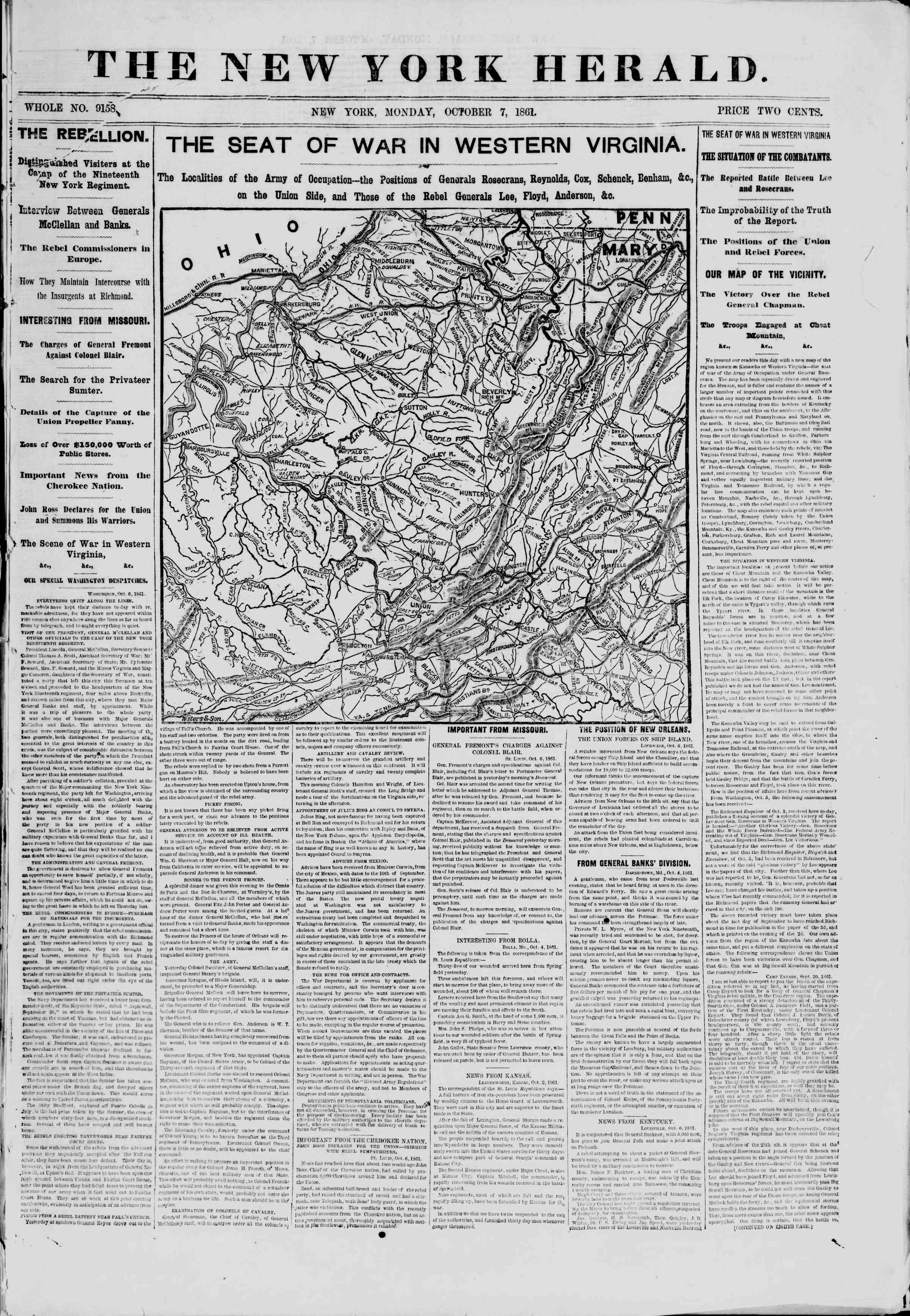 Newspaper of The New York Herald dated October 7, 1861 Page 1