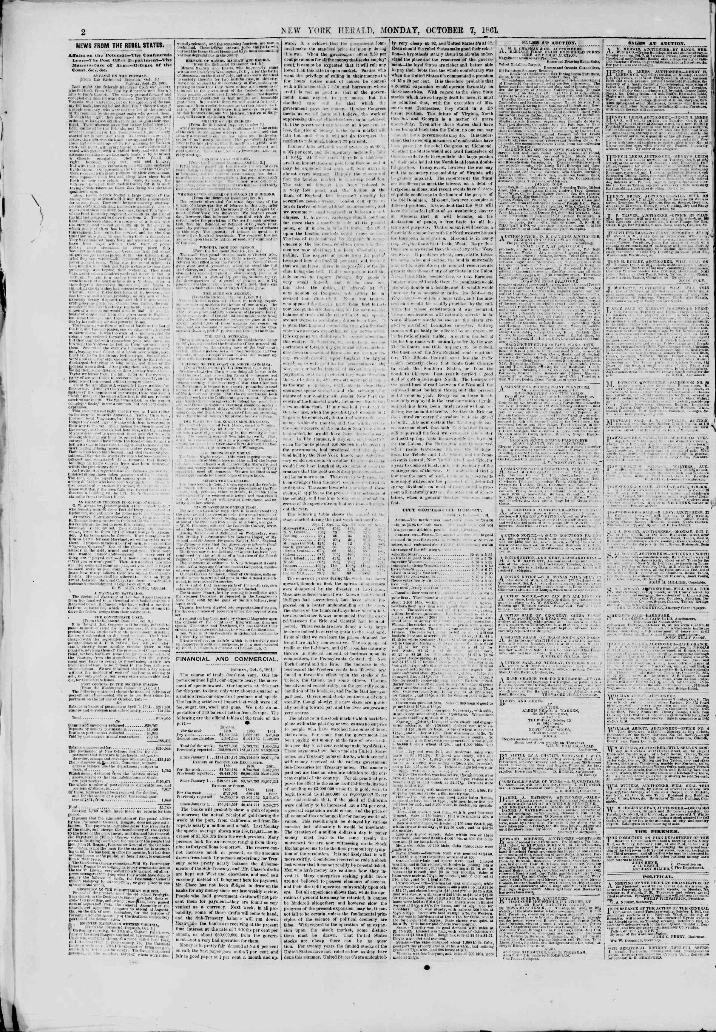 Newspaper of The New York Herald dated October 7, 1861 Page 2