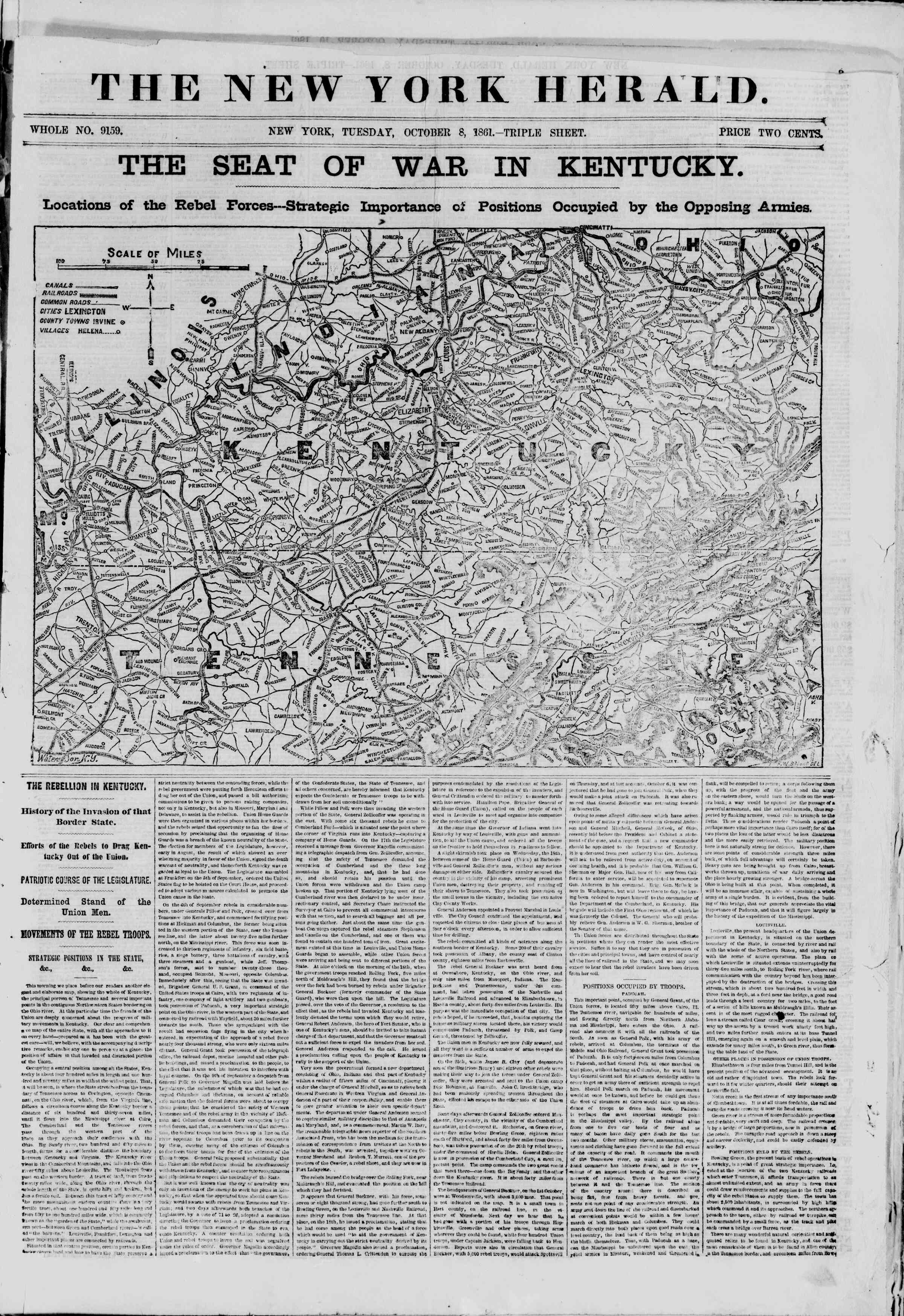 Newspaper of The New York Herald dated October 8, 1861 Page 1