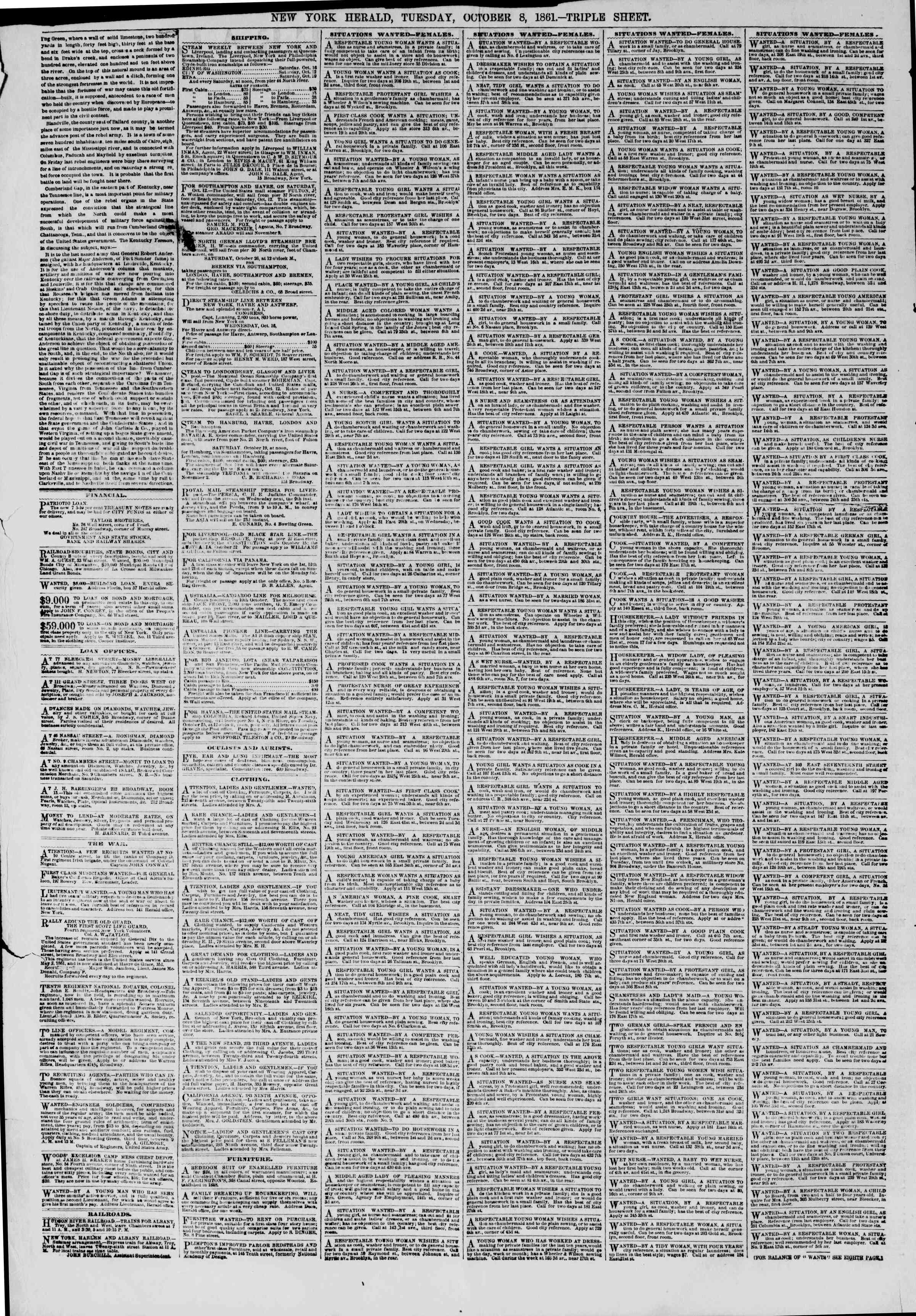 Newspaper of The New York Herald dated October 8, 1861 Page 2