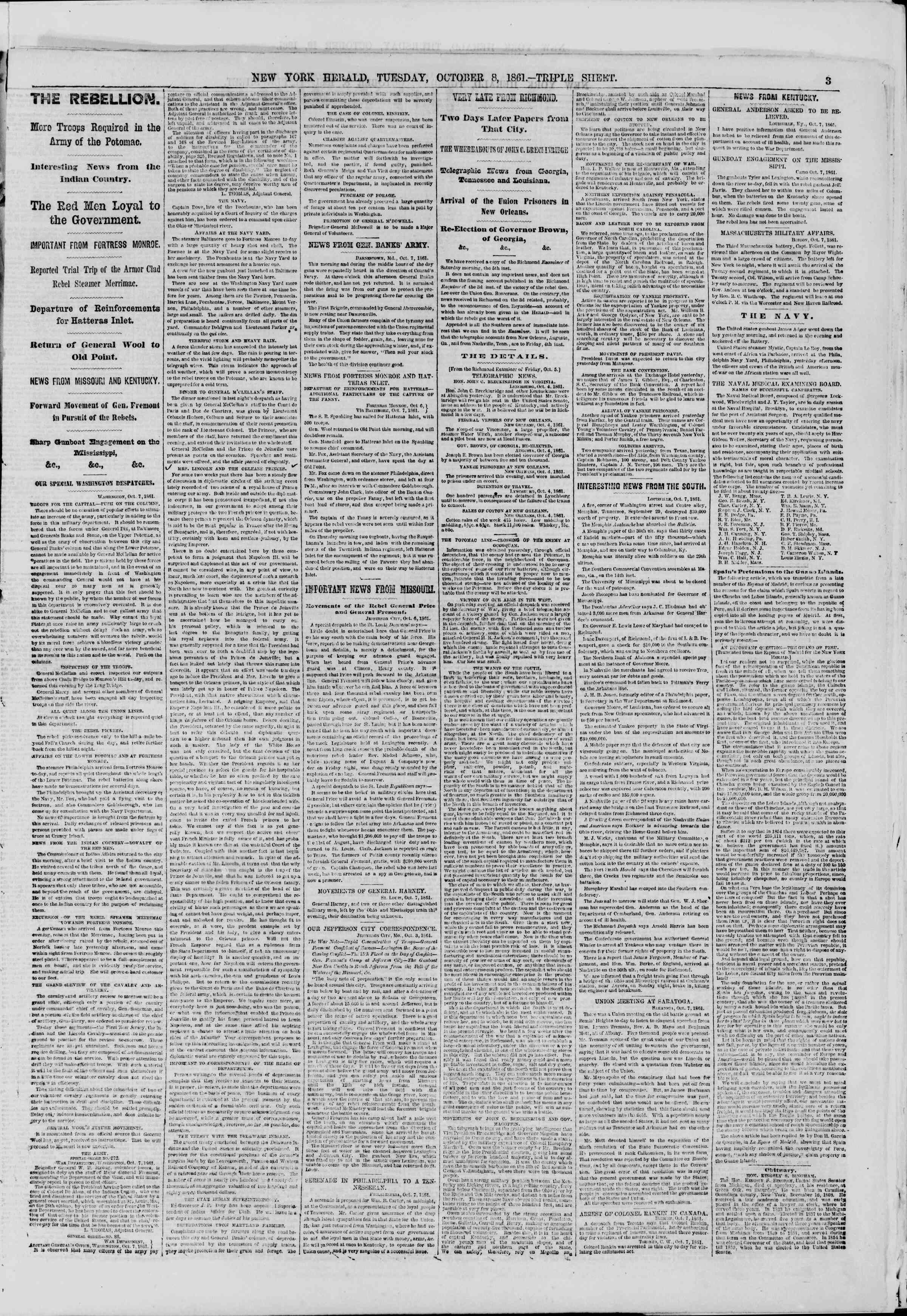 Newspaper of The New York Herald dated October 8, 1861 Page 3