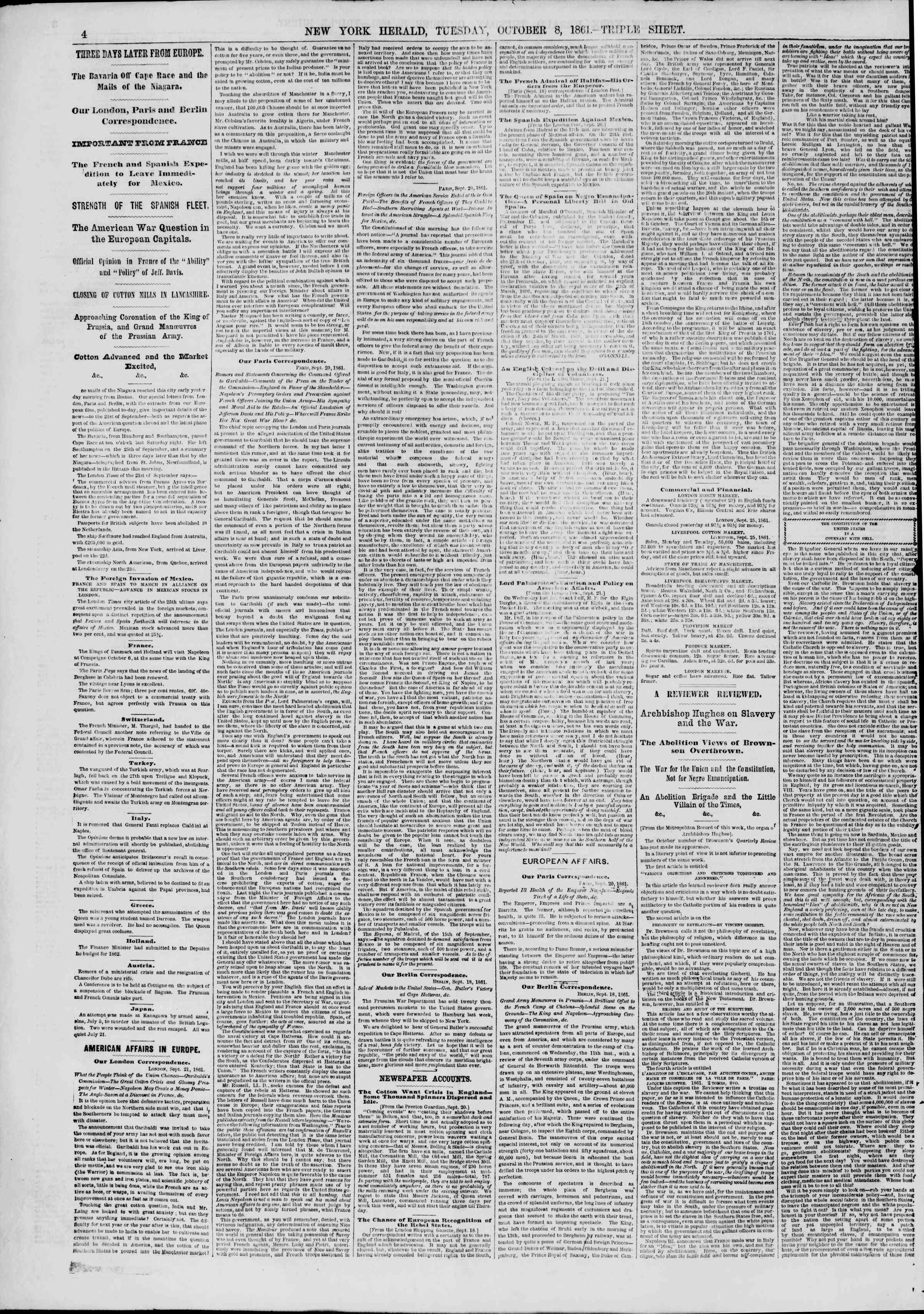 Newspaper of The New York Herald dated October 8, 1861 Page 4