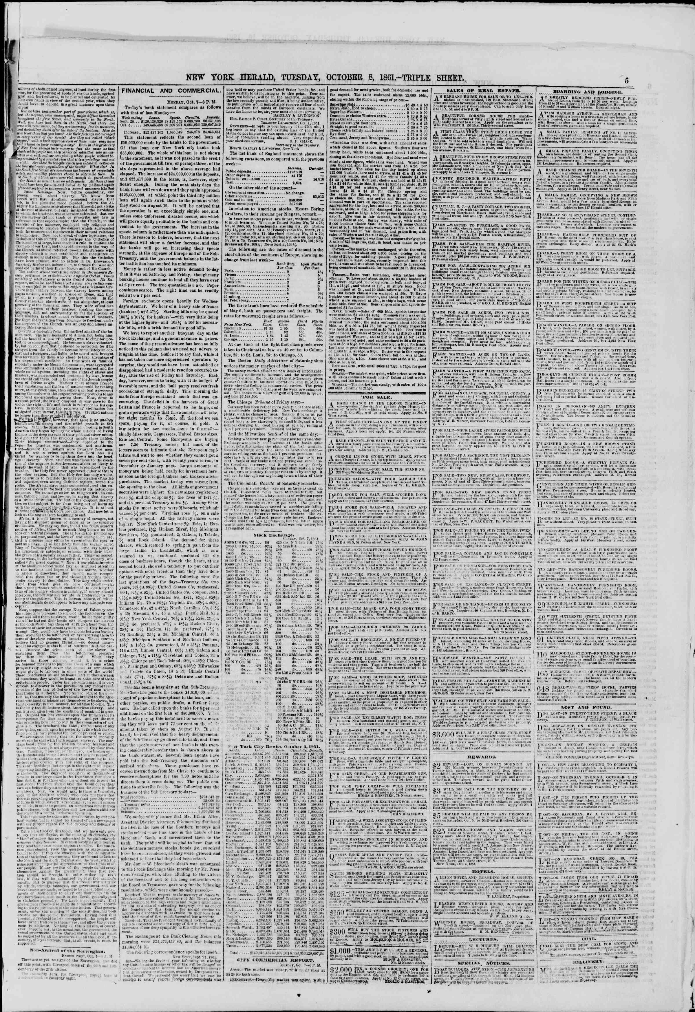 Newspaper of The New York Herald dated October 8, 1861 Page 5