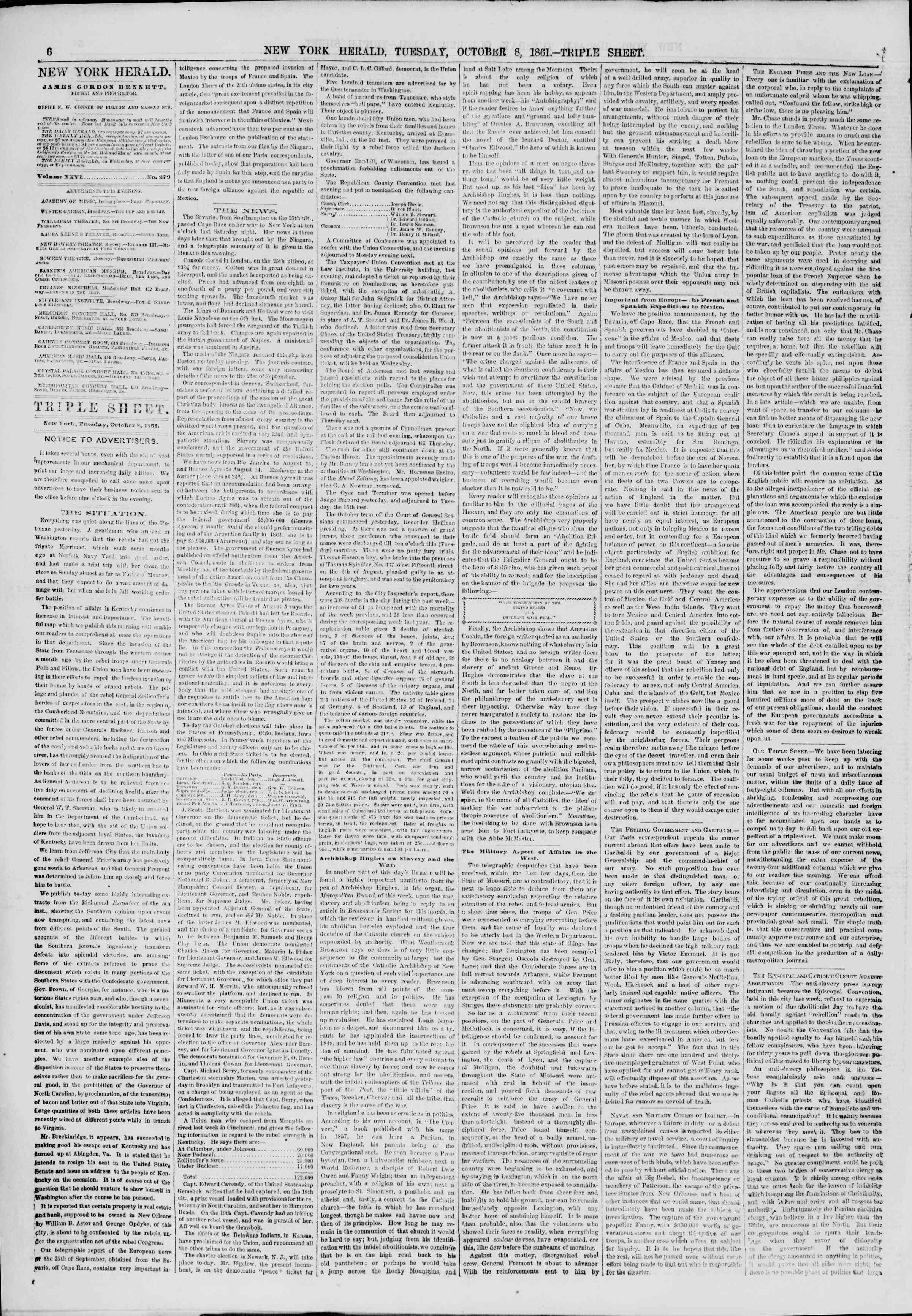 Newspaper of The New York Herald dated October 8, 1861 Page 6