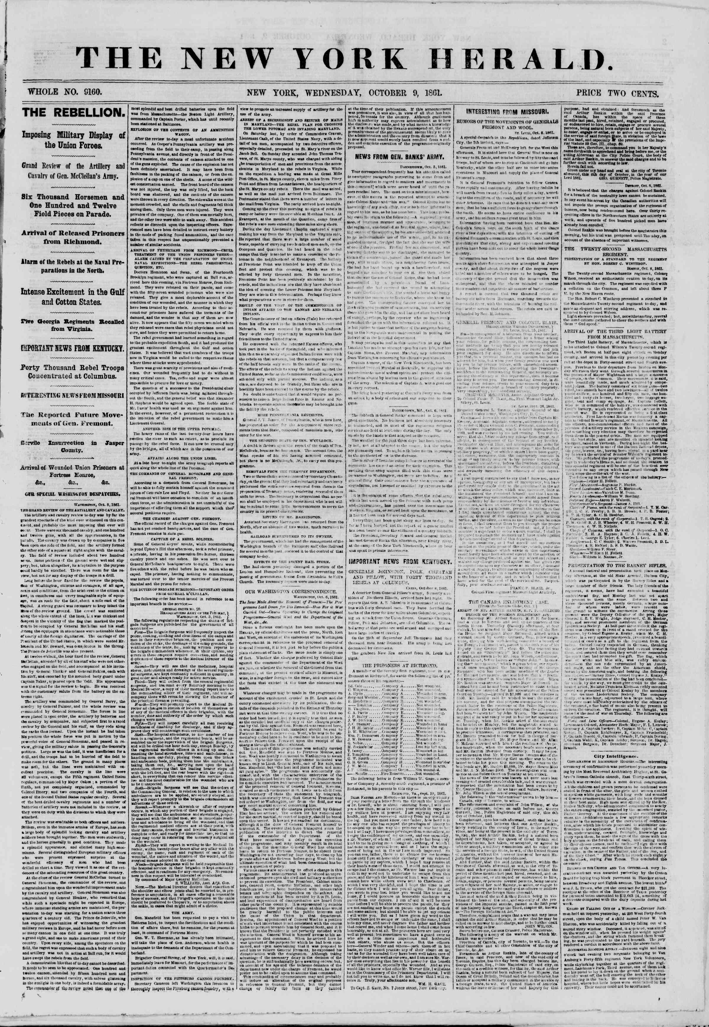 Newspaper of The New York Herald dated October 9, 1861 Page 1