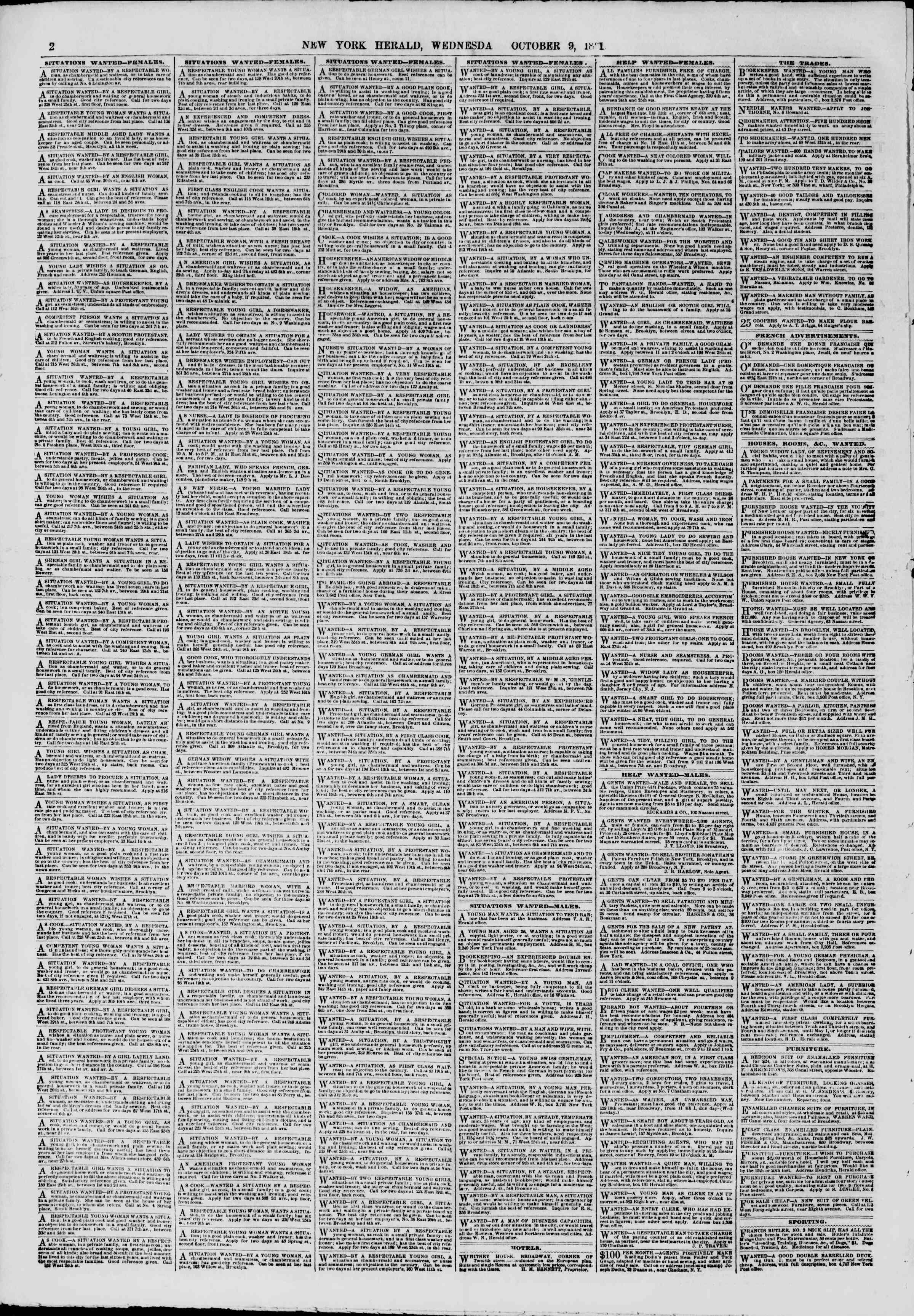 Newspaper of The New York Herald dated October 9, 1861 Page 2