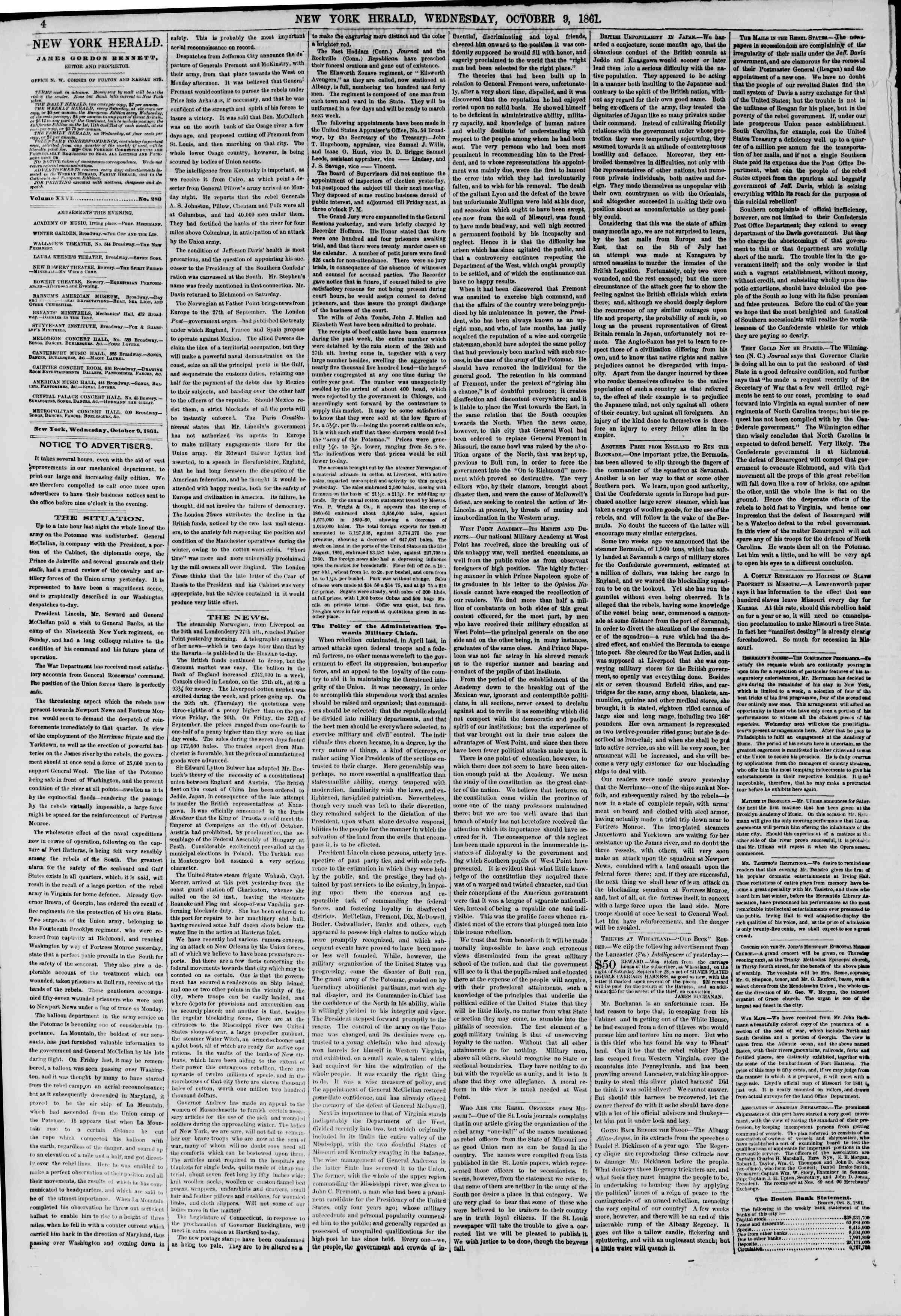 Newspaper of The New York Herald dated October 9, 1861 Page 4