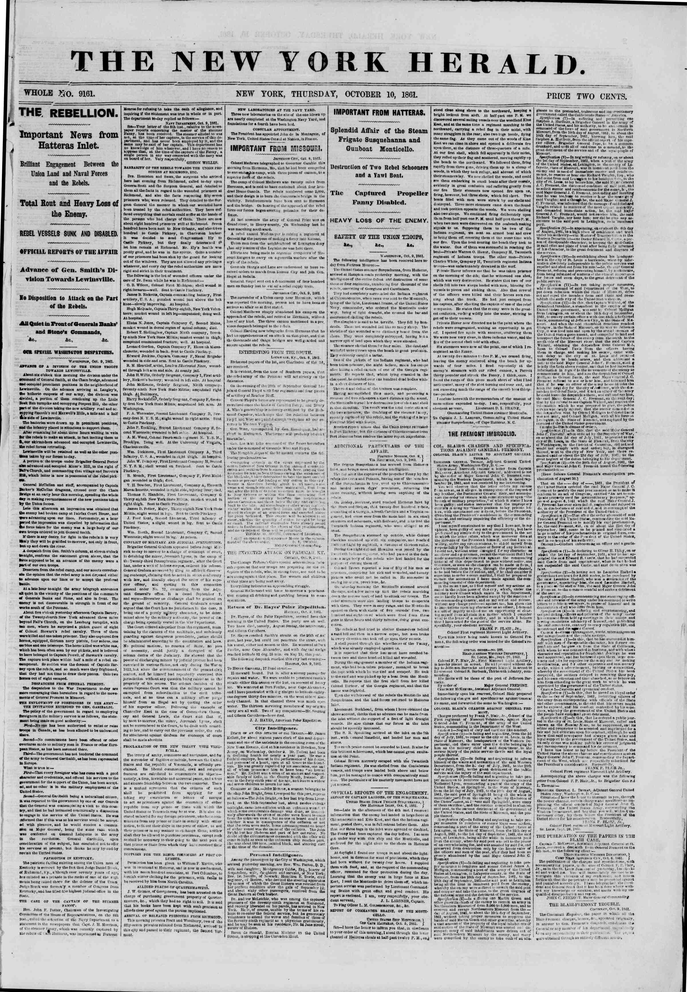 10 Ekim 1861 tarihli The New York Herald Gazetesi Sayfa 1