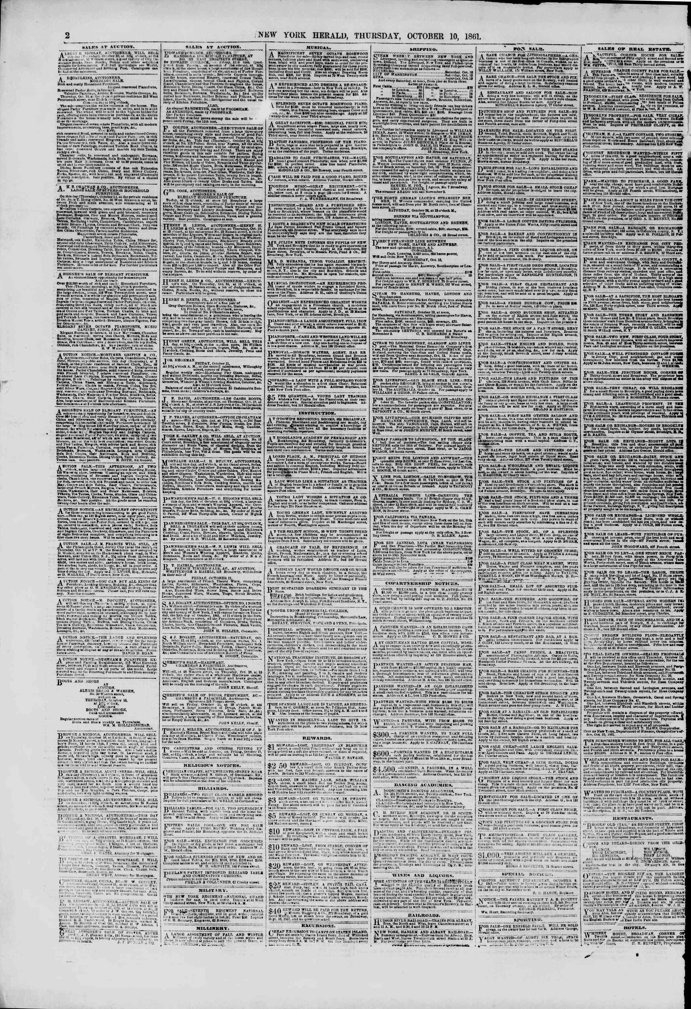 Newspaper of The New York Herald dated October 10, 1861 Page 2