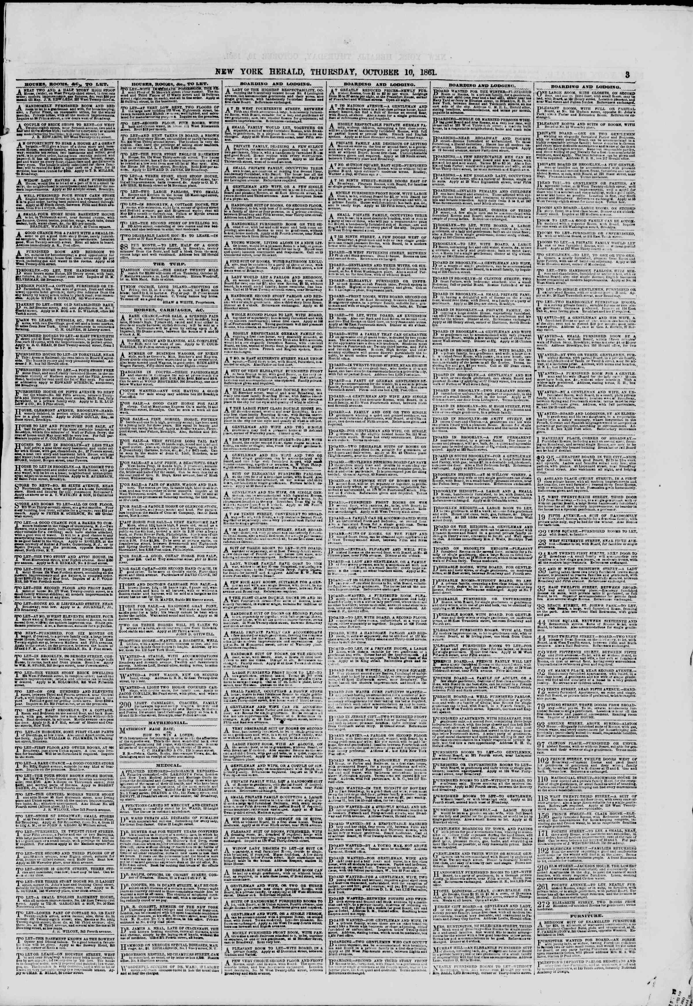 Newspaper of The New York Herald dated October 10, 1861 Page 3
