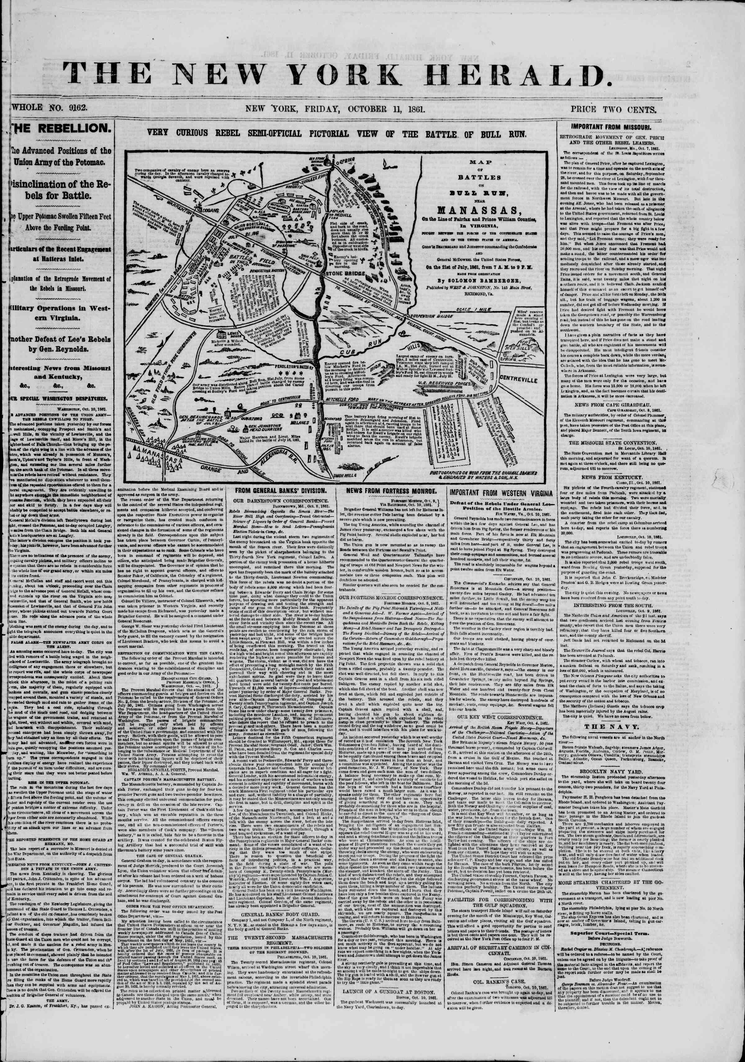 Newspaper of The New York Herald dated October 11, 1861 Page 1