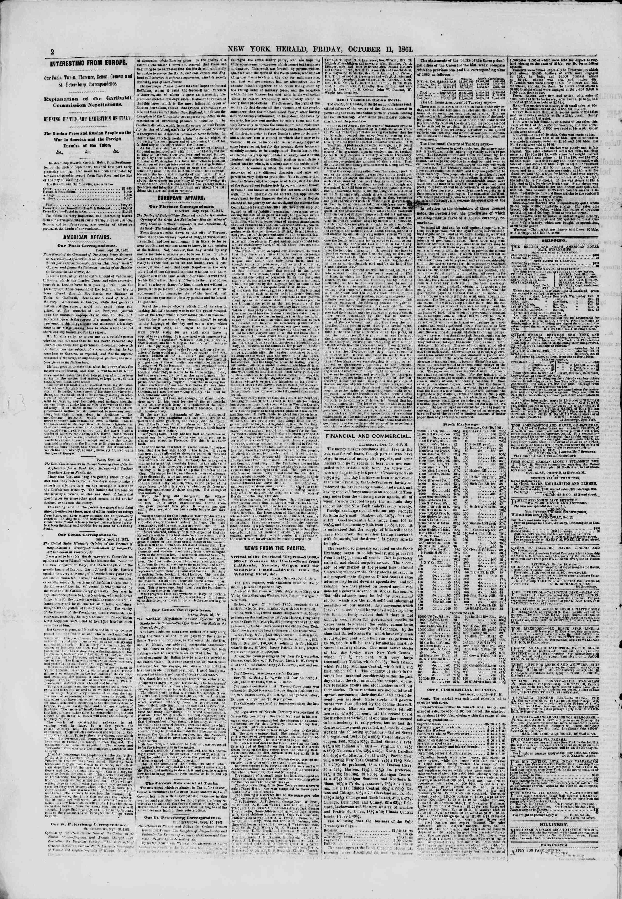 11 Ekim 1861 tarihli The New York Herald Gazetesi Sayfa 2