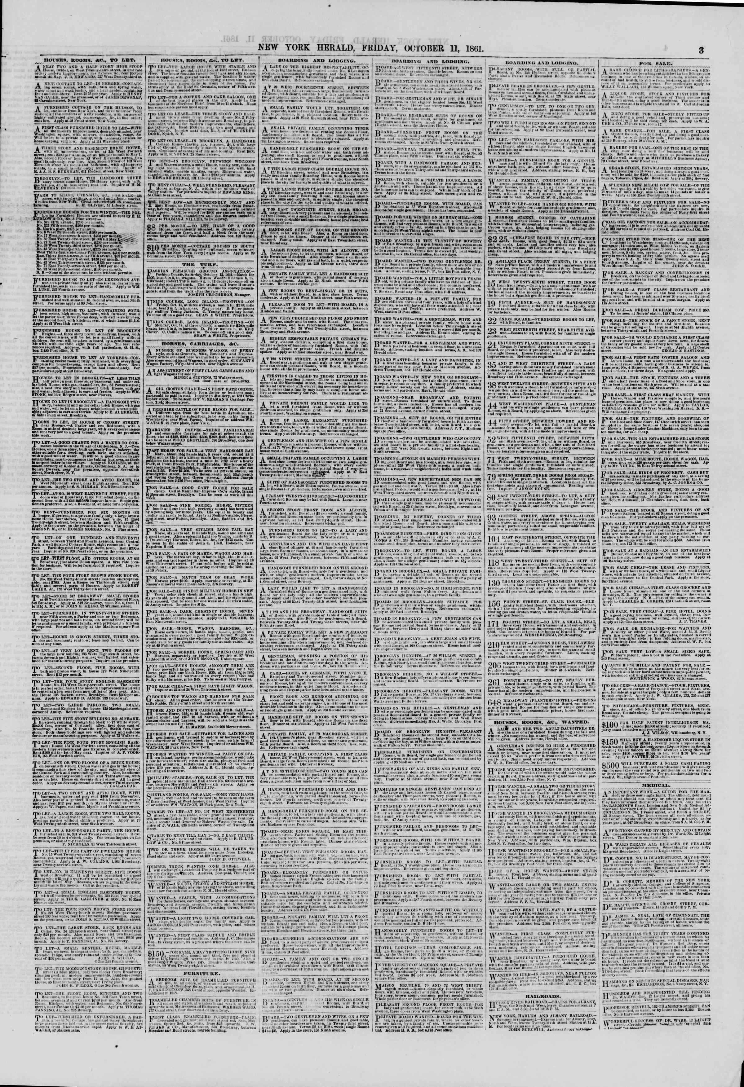 Newspaper of The New York Herald dated October 11, 1861 Page 3