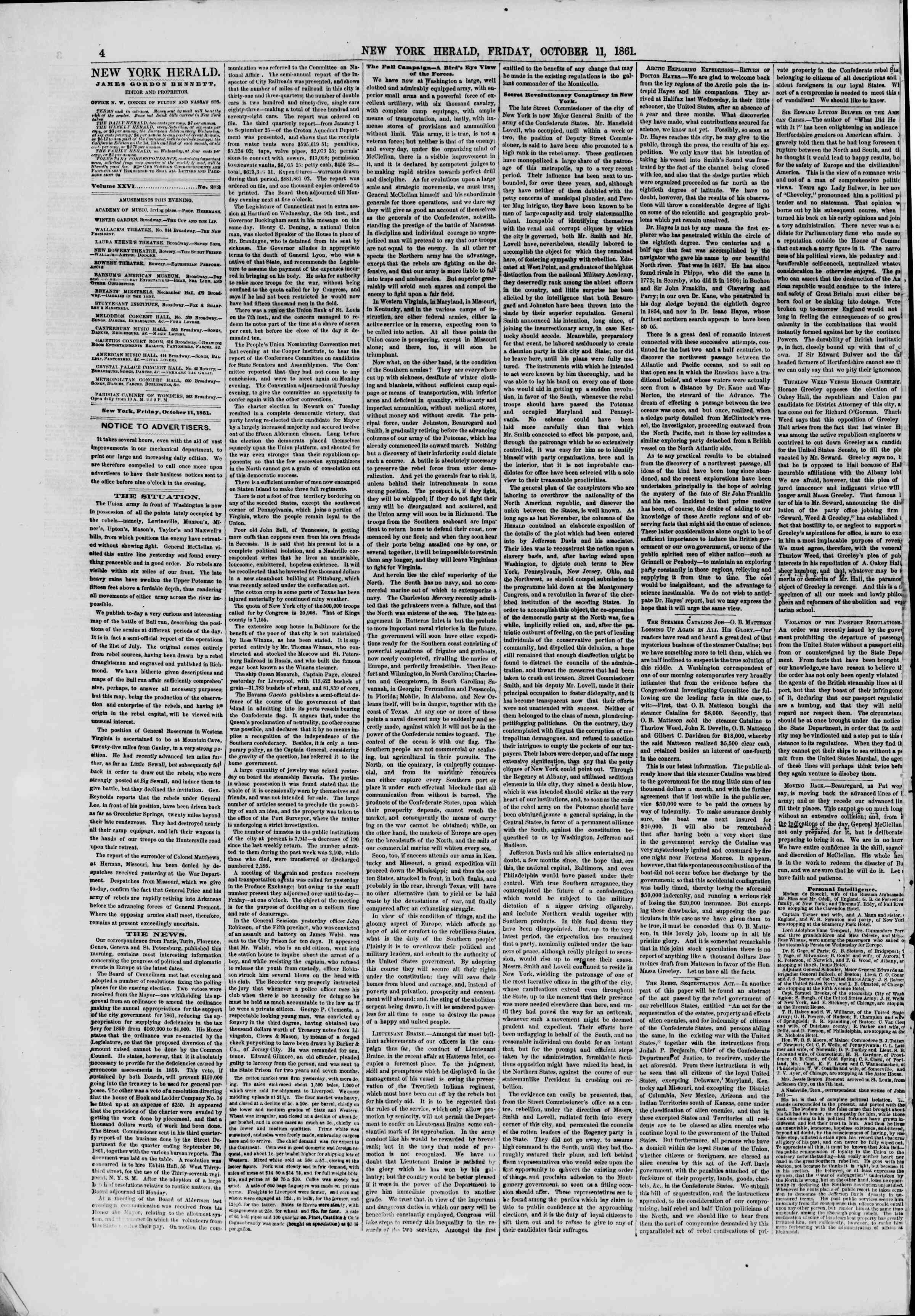 Newspaper of The New York Herald dated October 11, 1861 Page 4