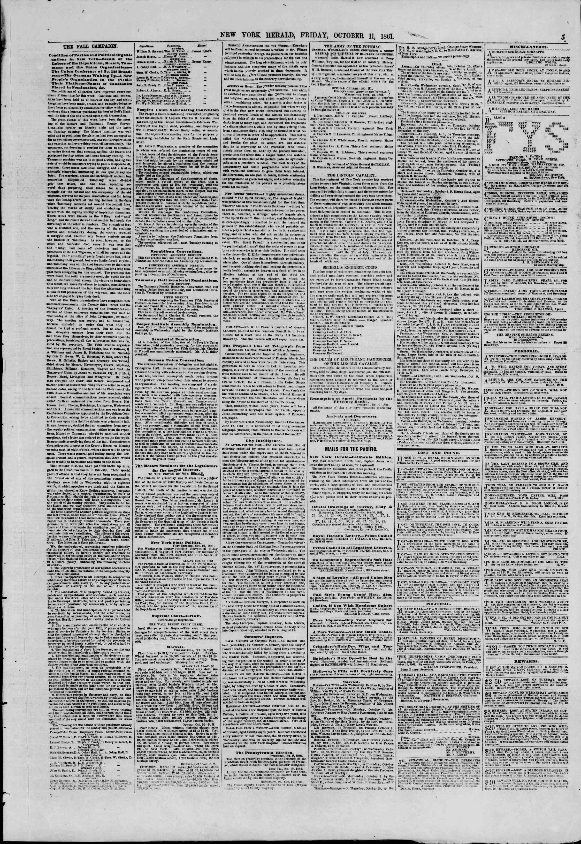 Newspaper of The New York Herald dated October 11, 1861 Page 5