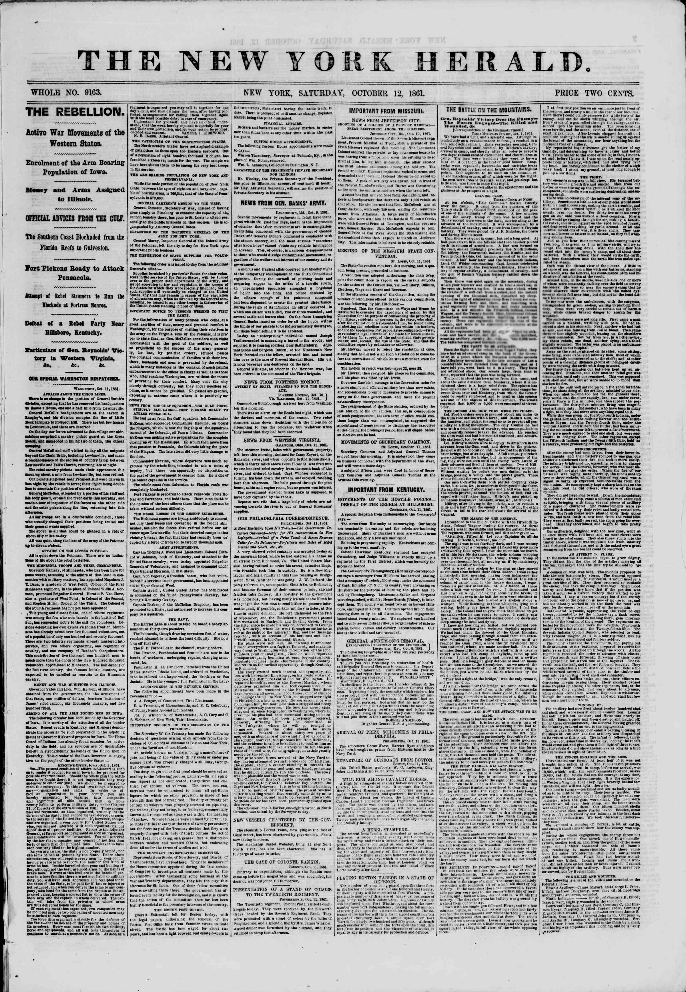 Newspaper of The New York Herald dated October 12, 1861 Page 1
