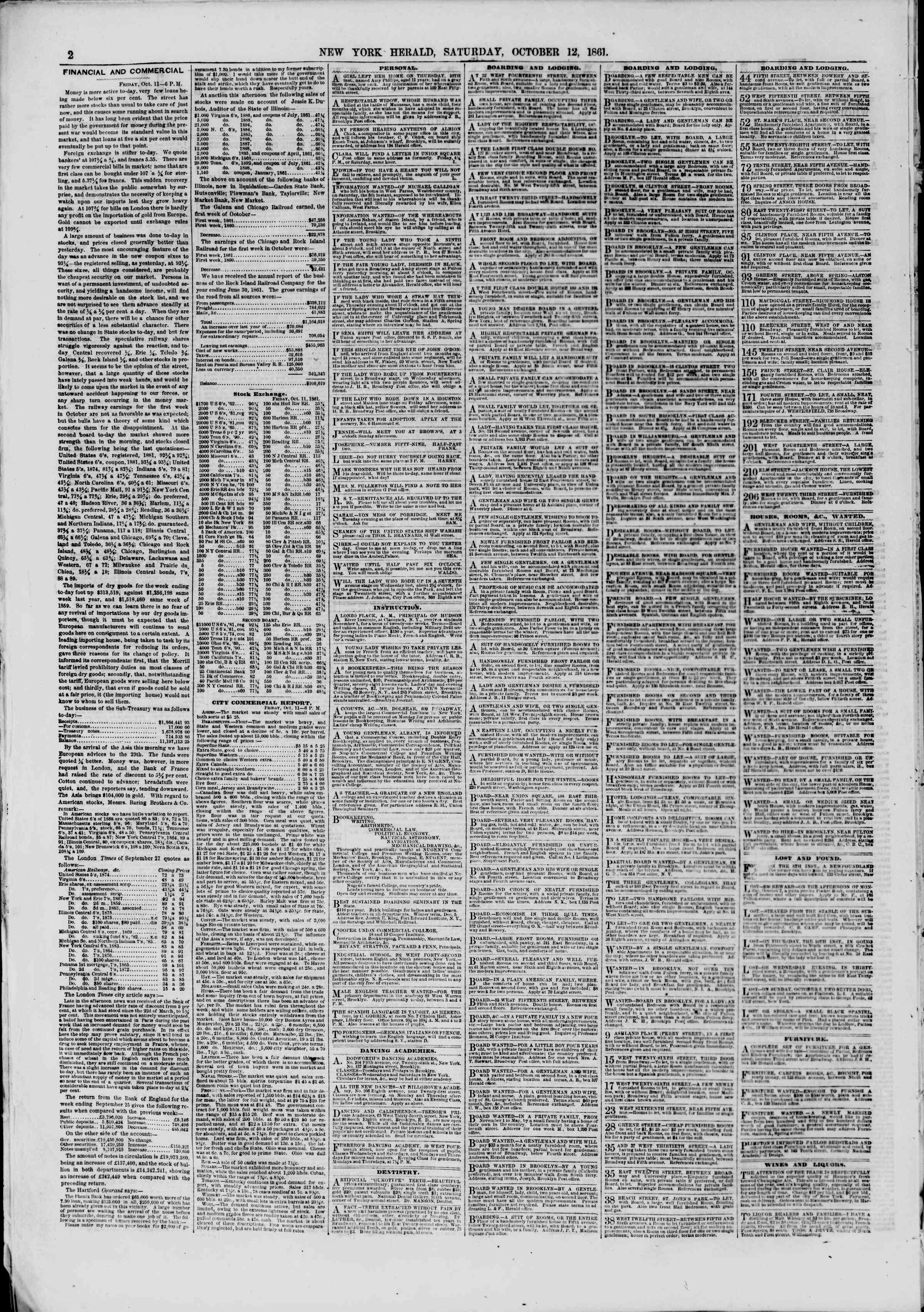 Newspaper of The New York Herald dated October 12, 1861 Page 2