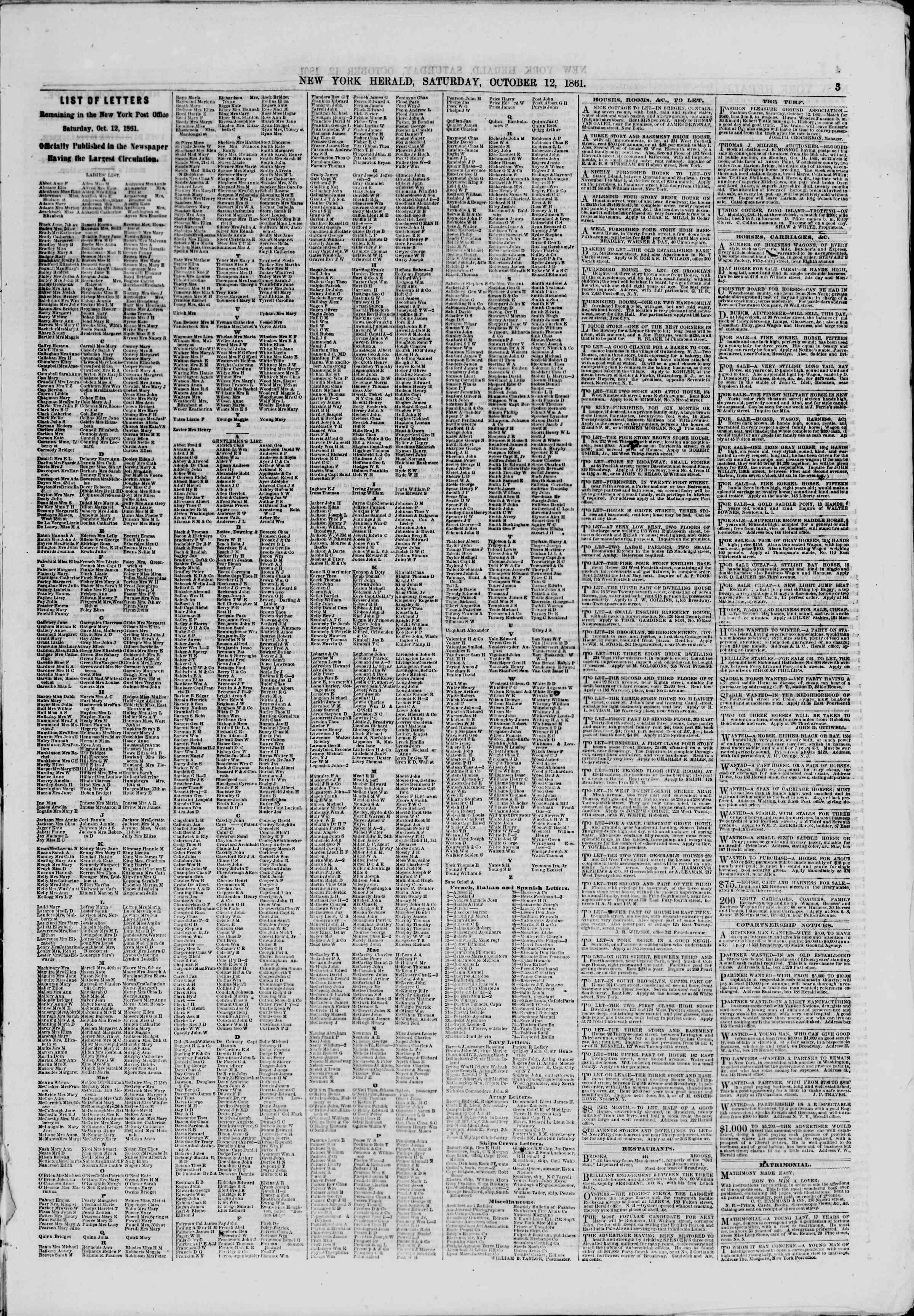 Newspaper of The New York Herald dated October 12, 1861 Page 3