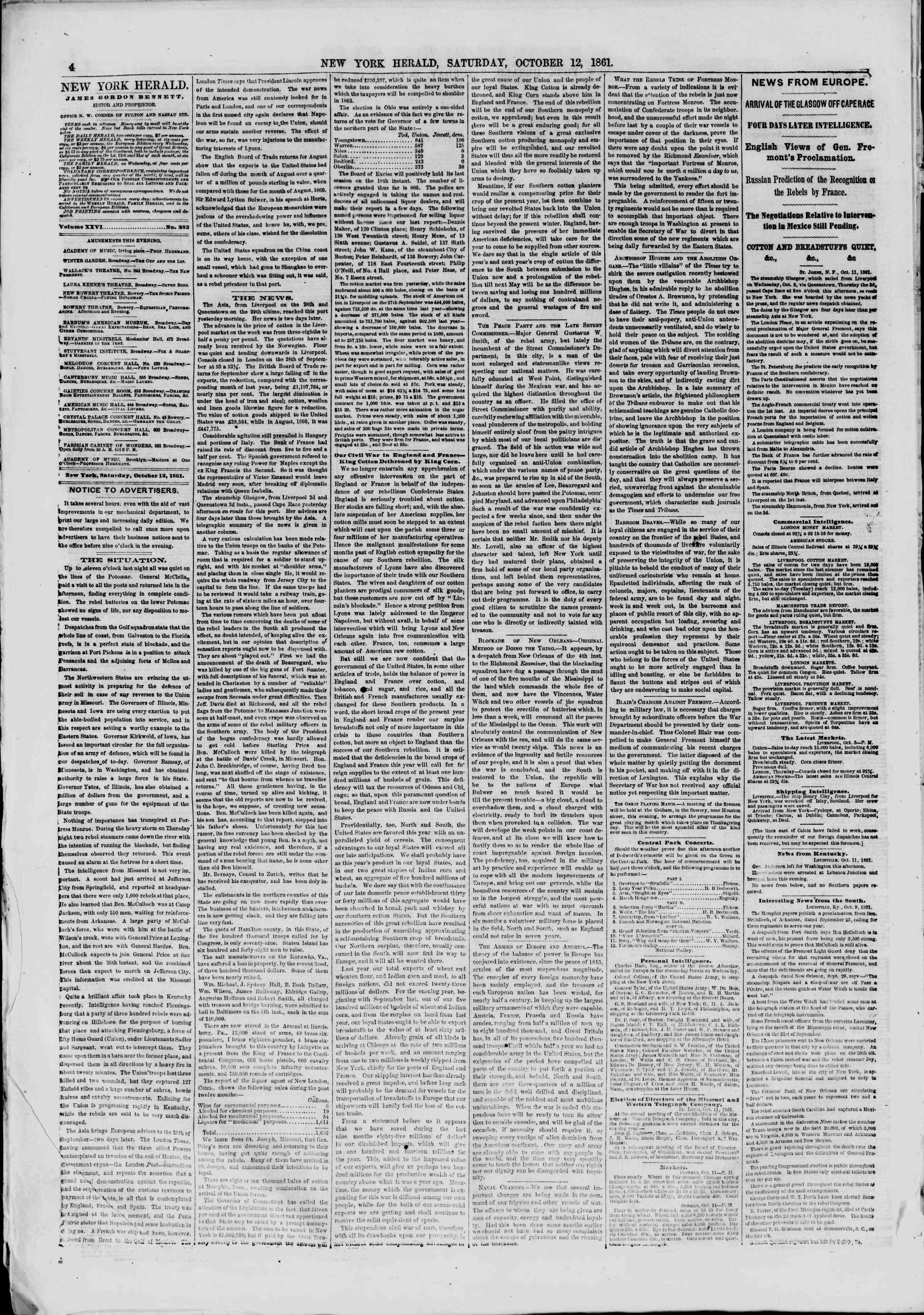 Newspaper of The New York Herald dated October 12, 1861 Page 4