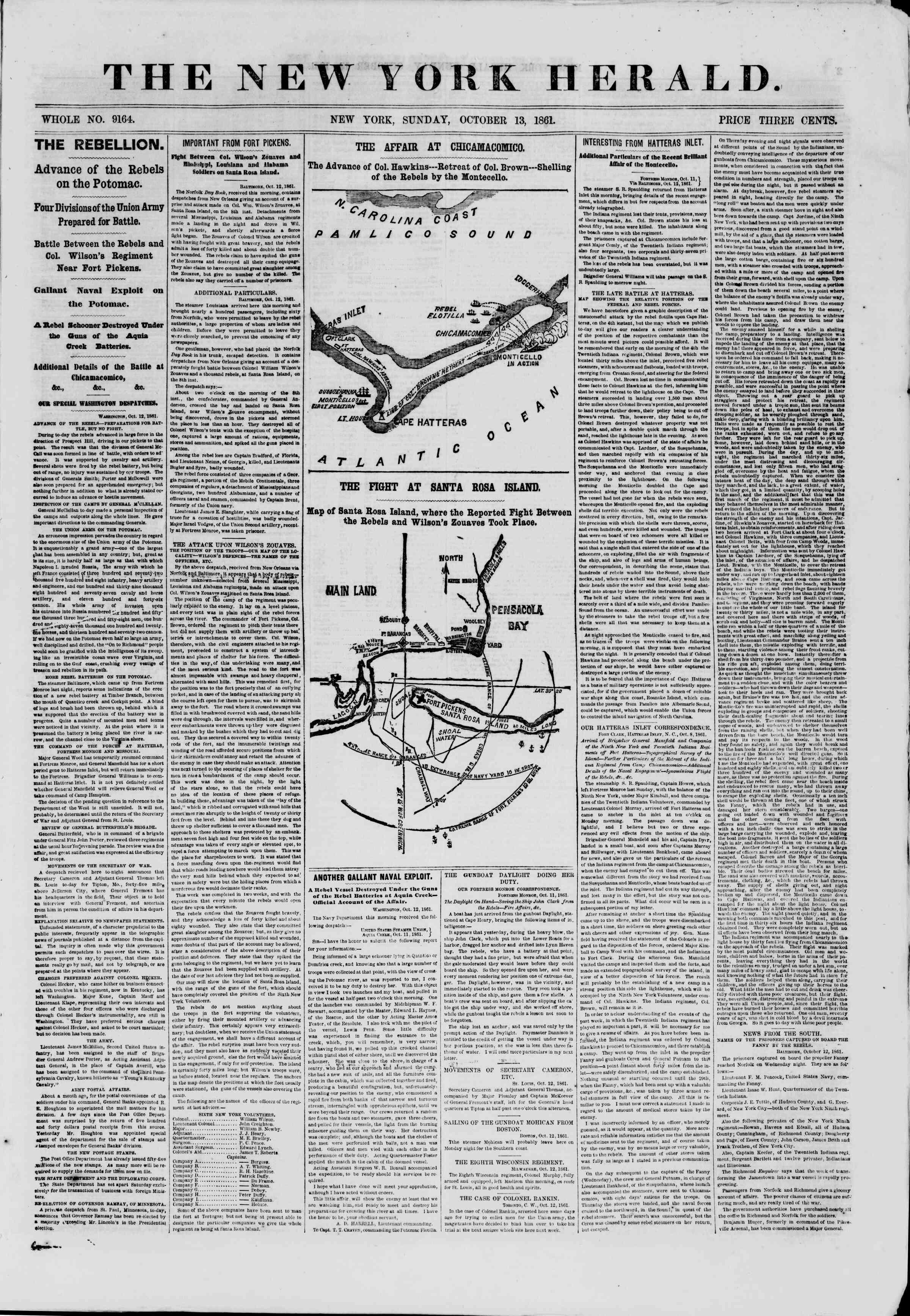 Newspaper of The New York Herald dated October 13, 1861 Page 1