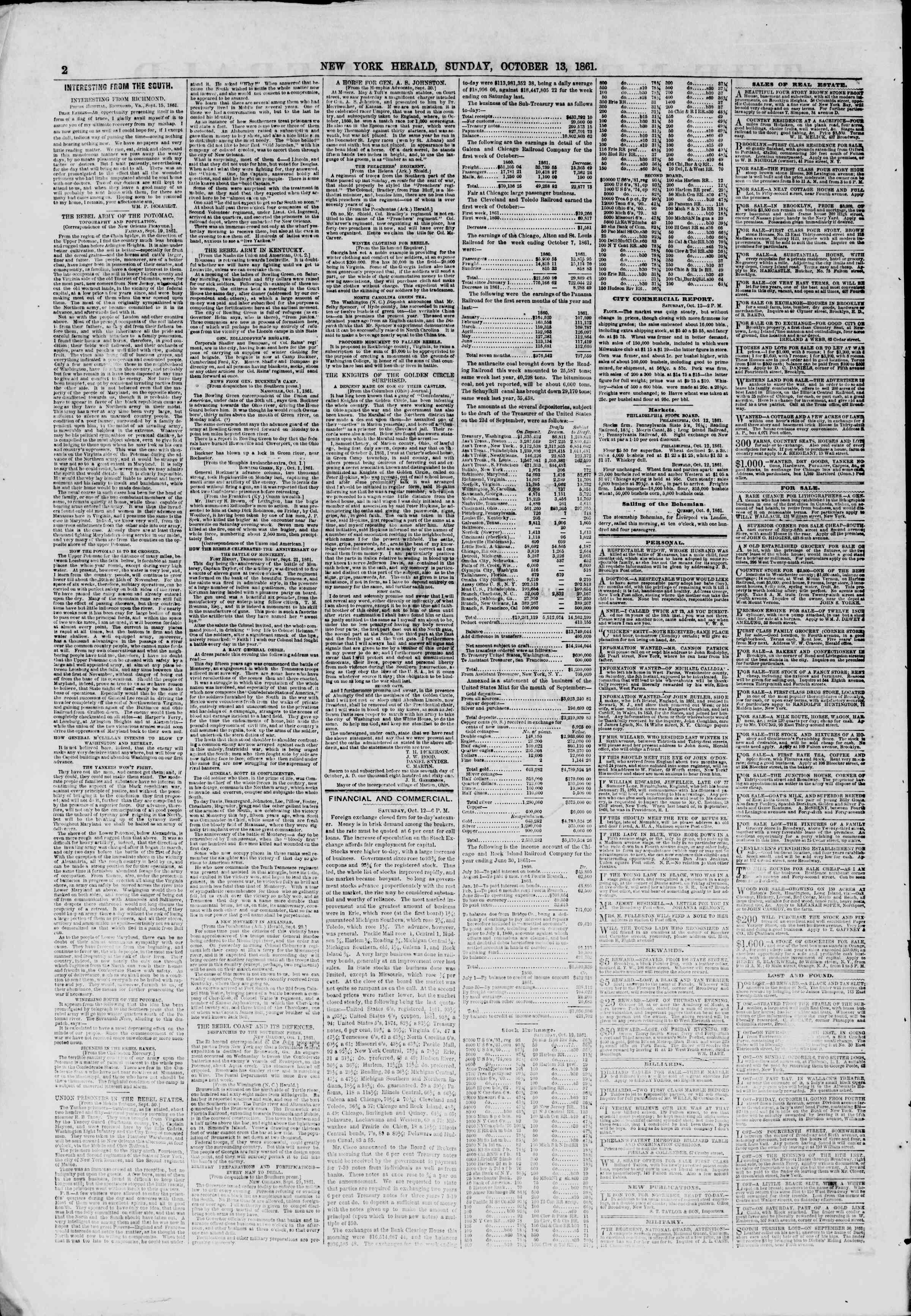 Newspaper of The New York Herald dated October 13, 1861 Page 2