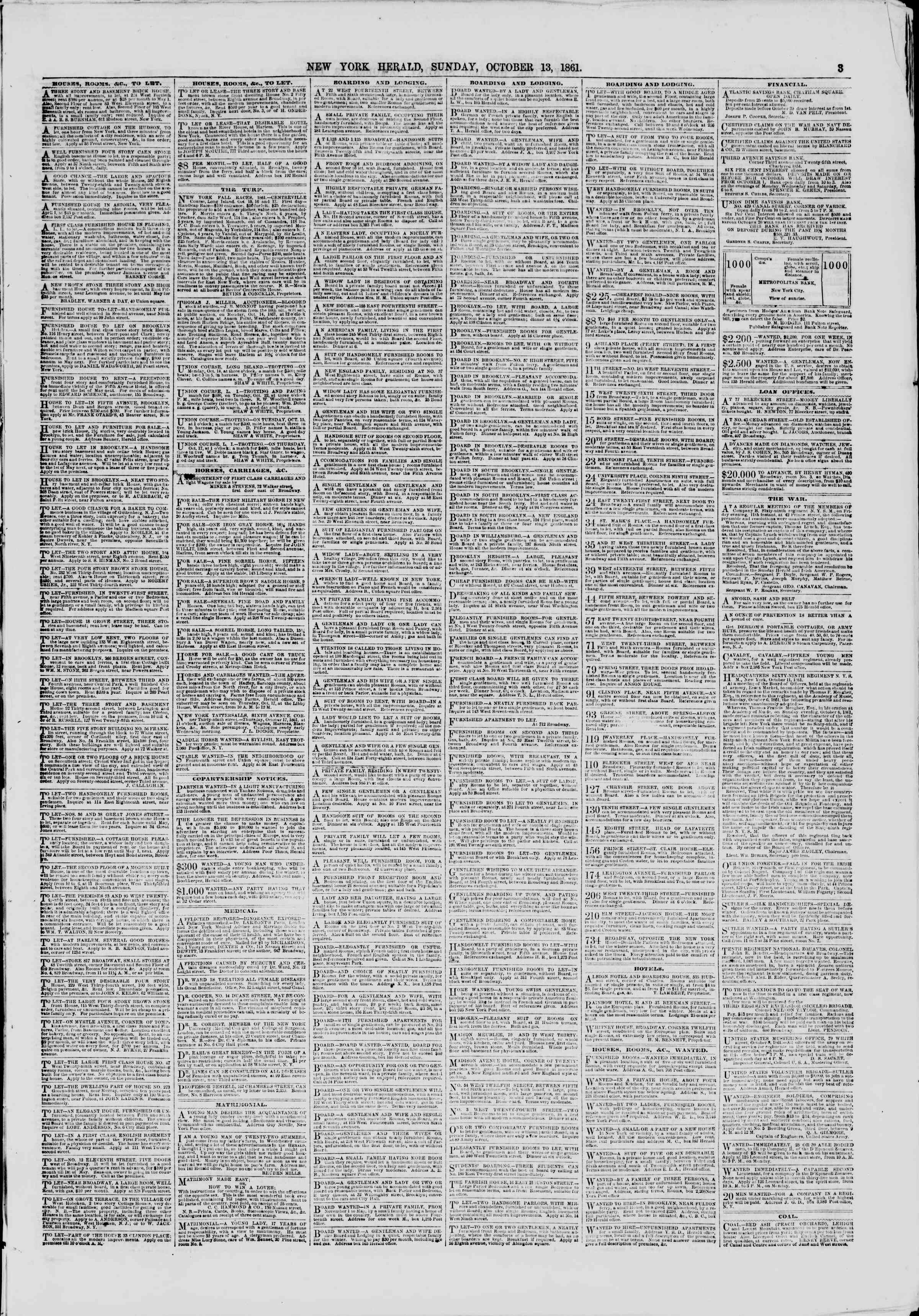 Newspaper of The New York Herald dated October 13, 1861 Page 3
