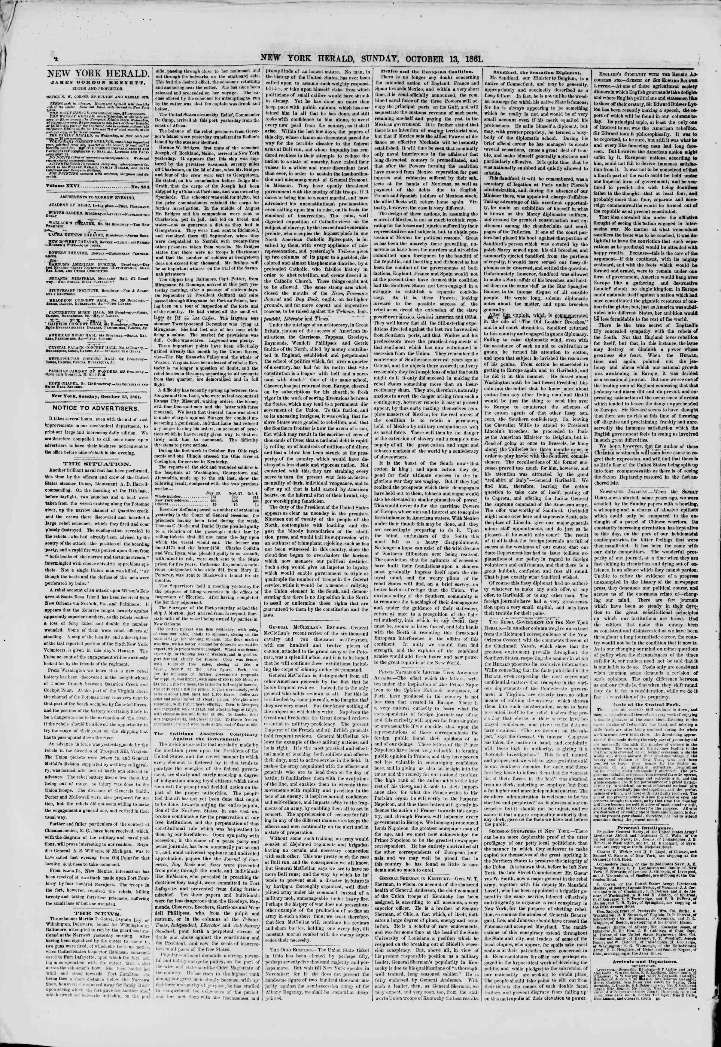 Newspaper of The New York Herald dated October 13, 1861 Page 4