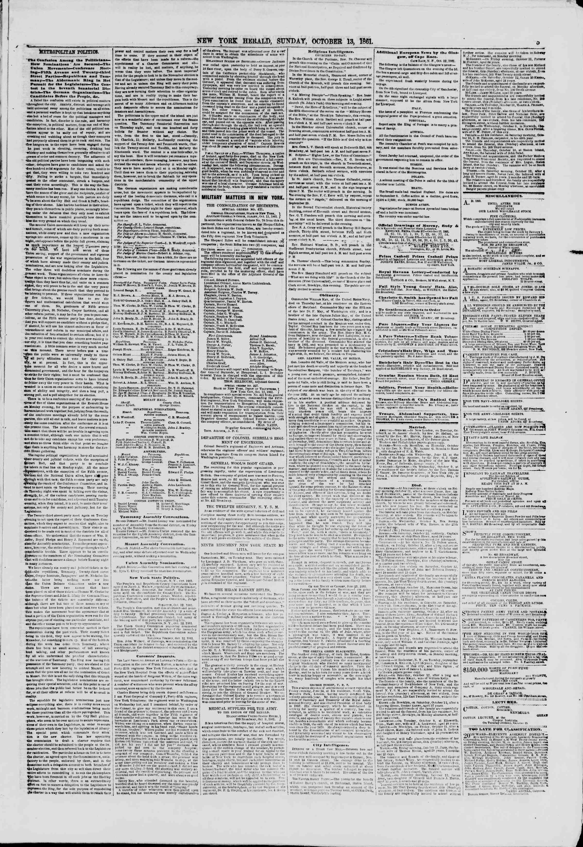 Newspaper of The New York Herald dated October 13, 1861 Page 5