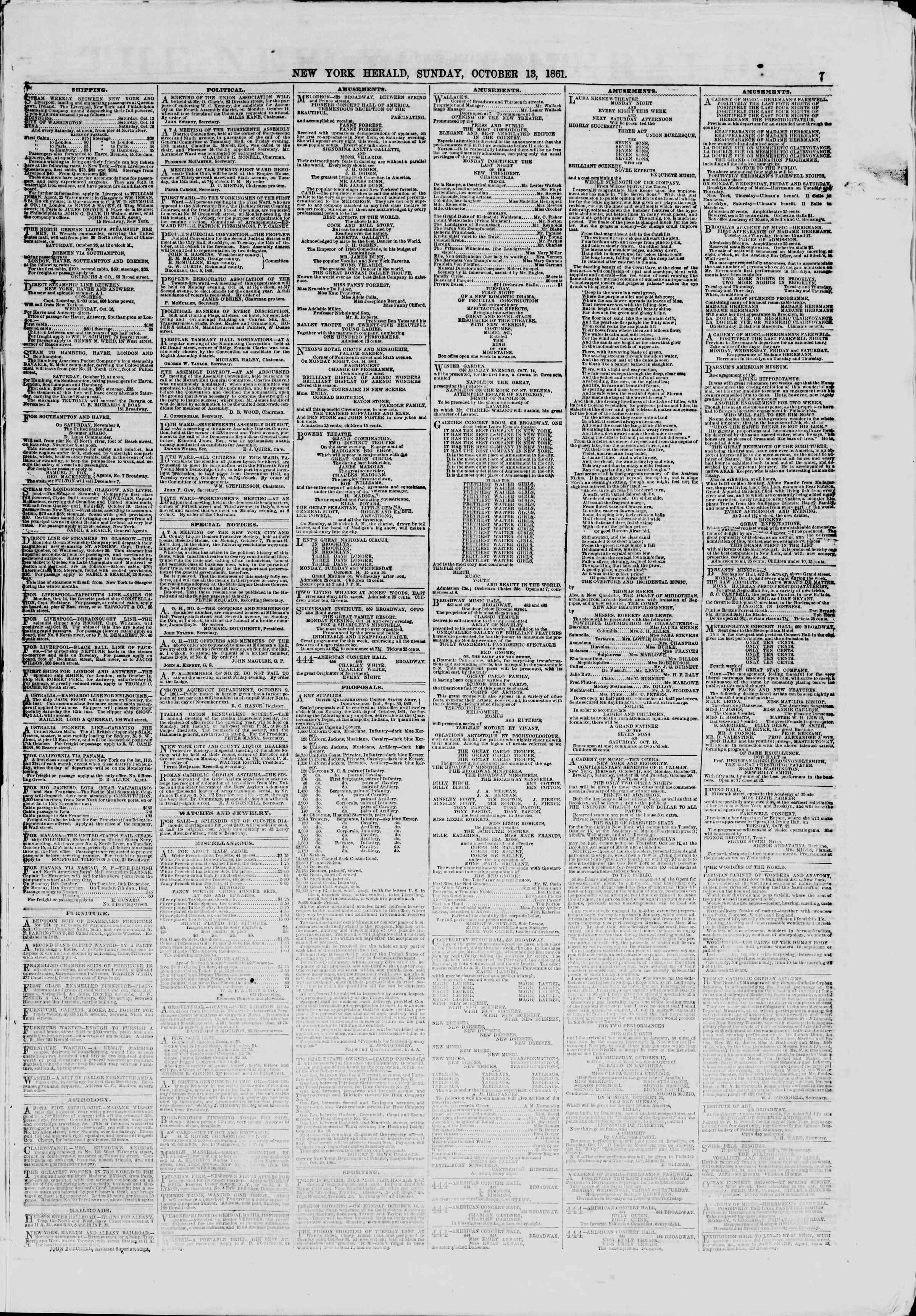 Newspaper of The New York Herald dated October 13, 1861 Page 7