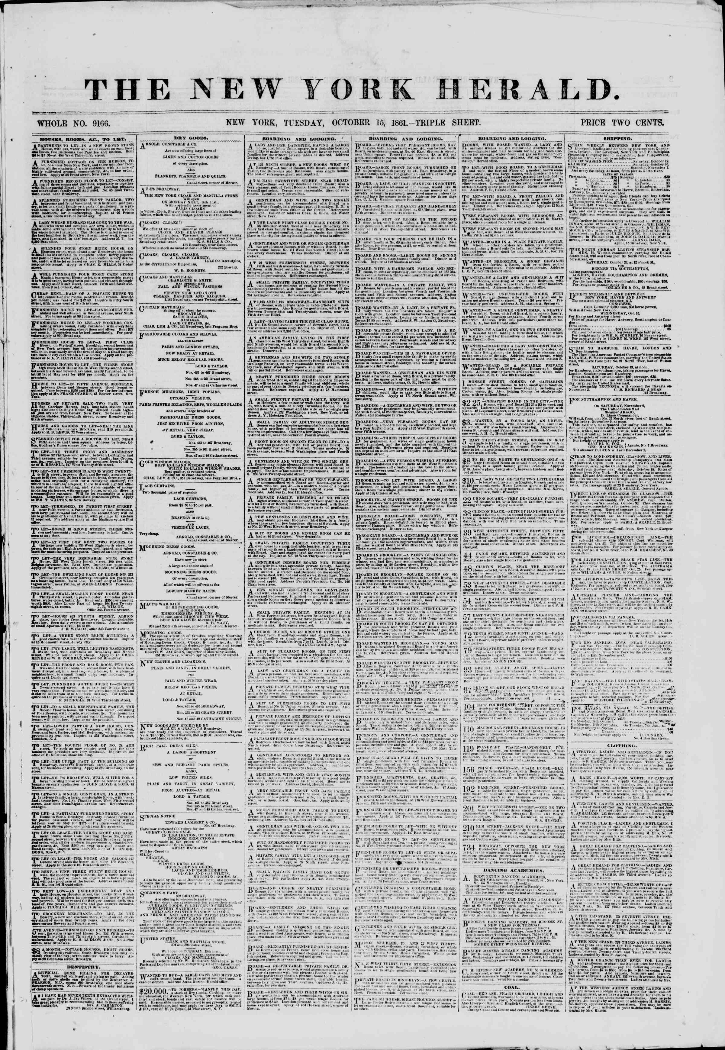 Newspaper of The New York Herald dated October 15, 1861 Page 1
