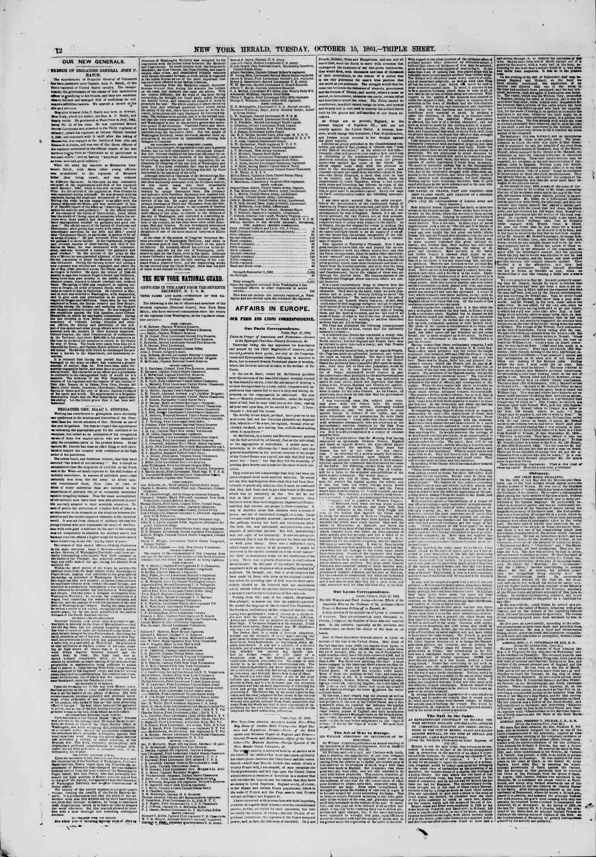 Newspaper of The New York Herald dated October 15, 1861 Page 12