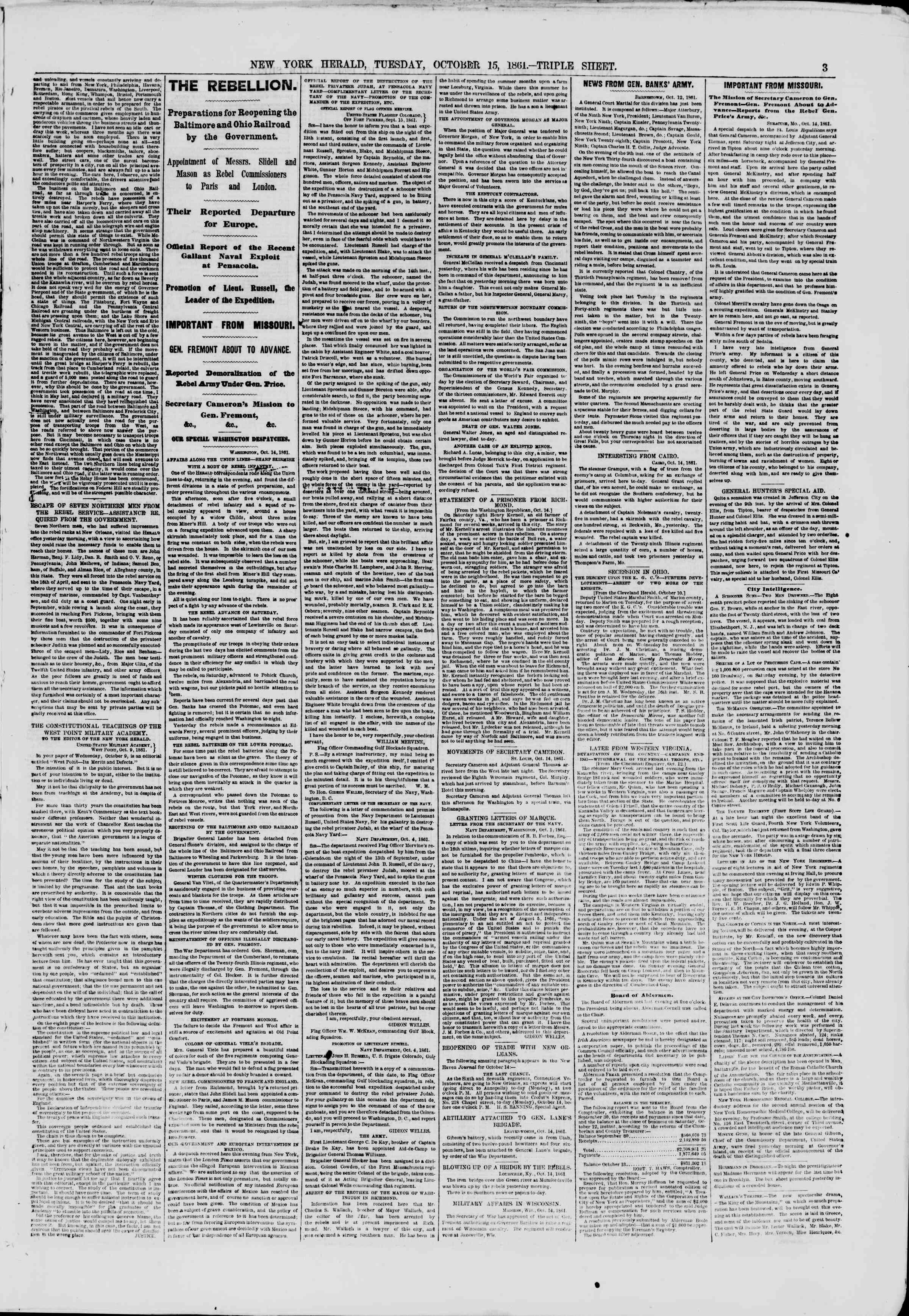 Newspaper of The New York Herald dated October 15, 1861 Page 3