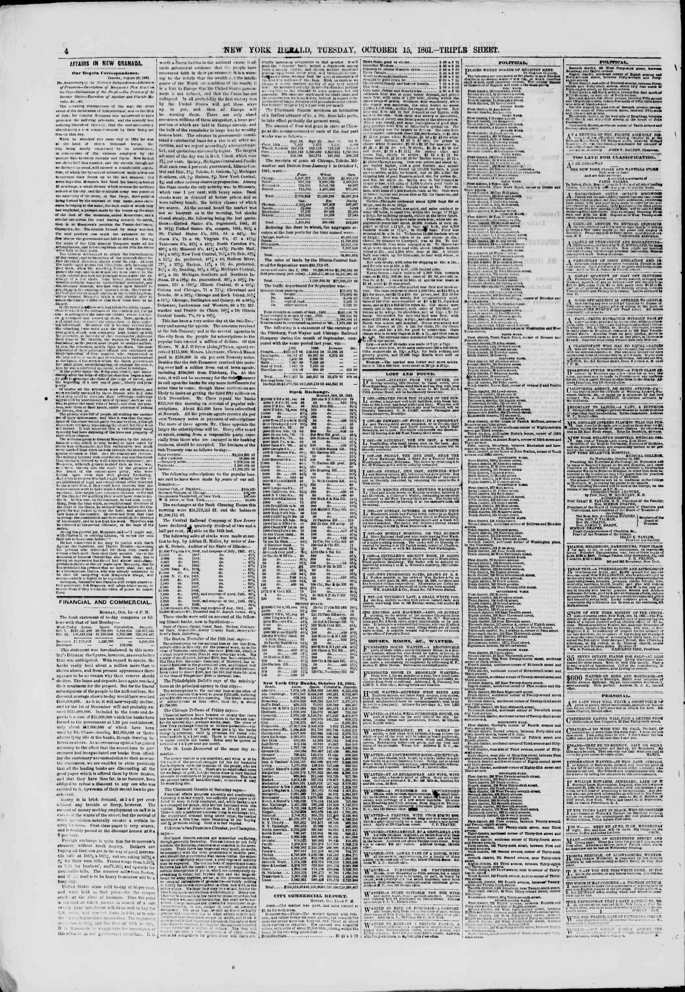 Newspaper of The New York Herald dated October 15, 1861 Page 4