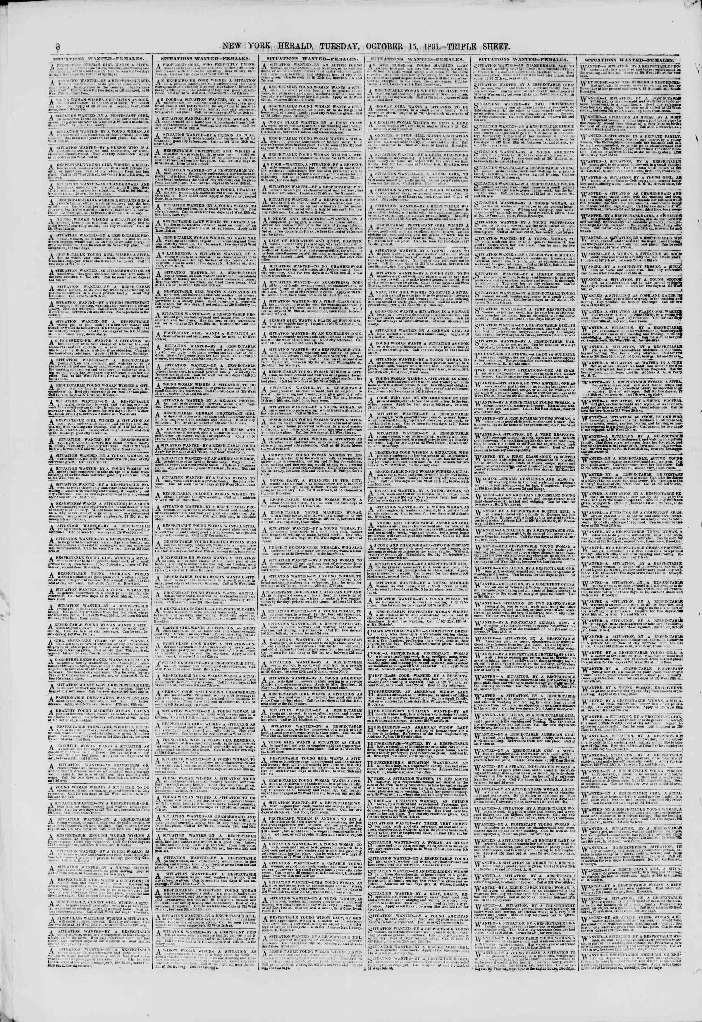 Newspaper of The New York Herald dated October 15, 1861 Page 8
