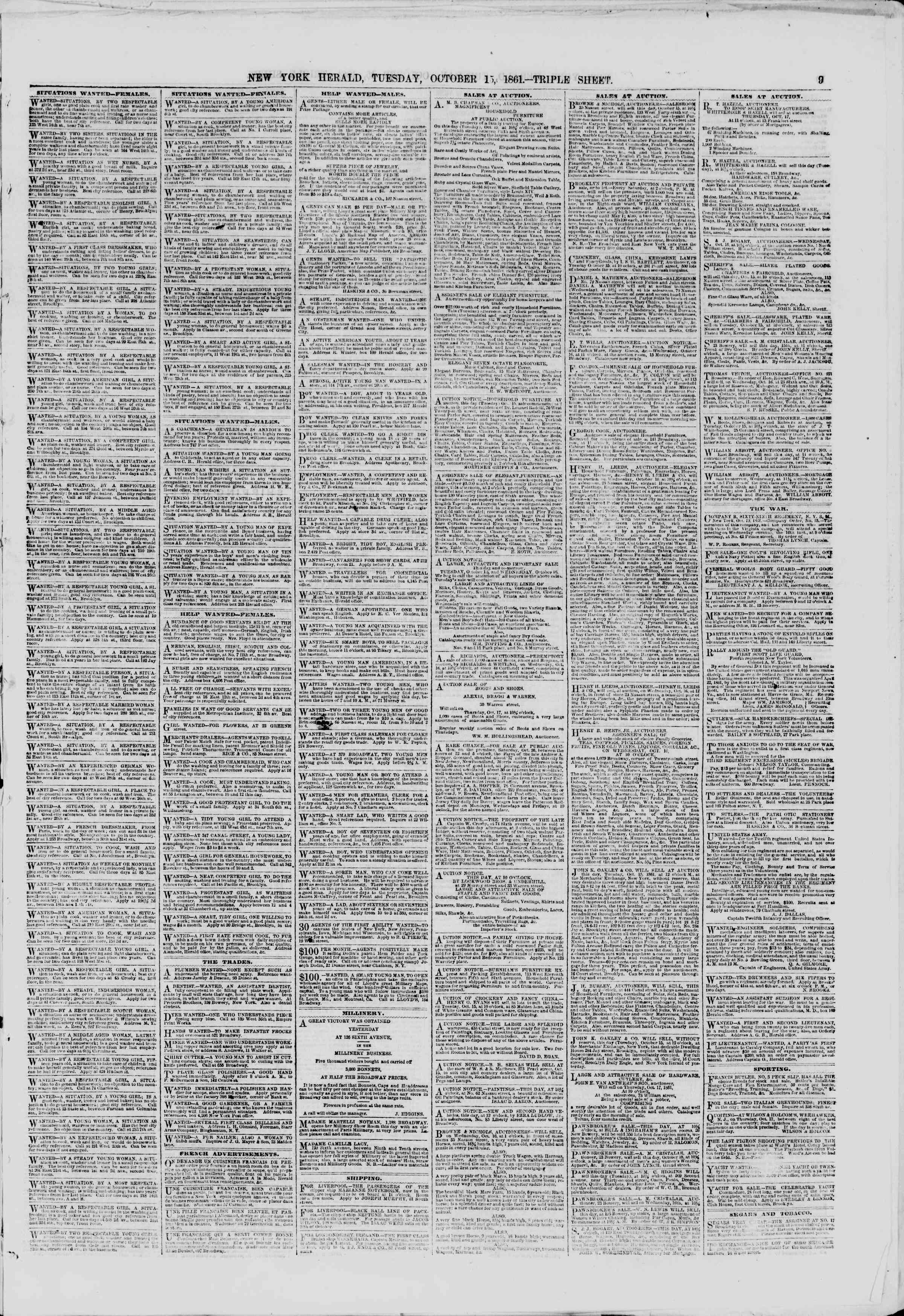 Newspaper of The New York Herald dated October 15, 1861 Page 9