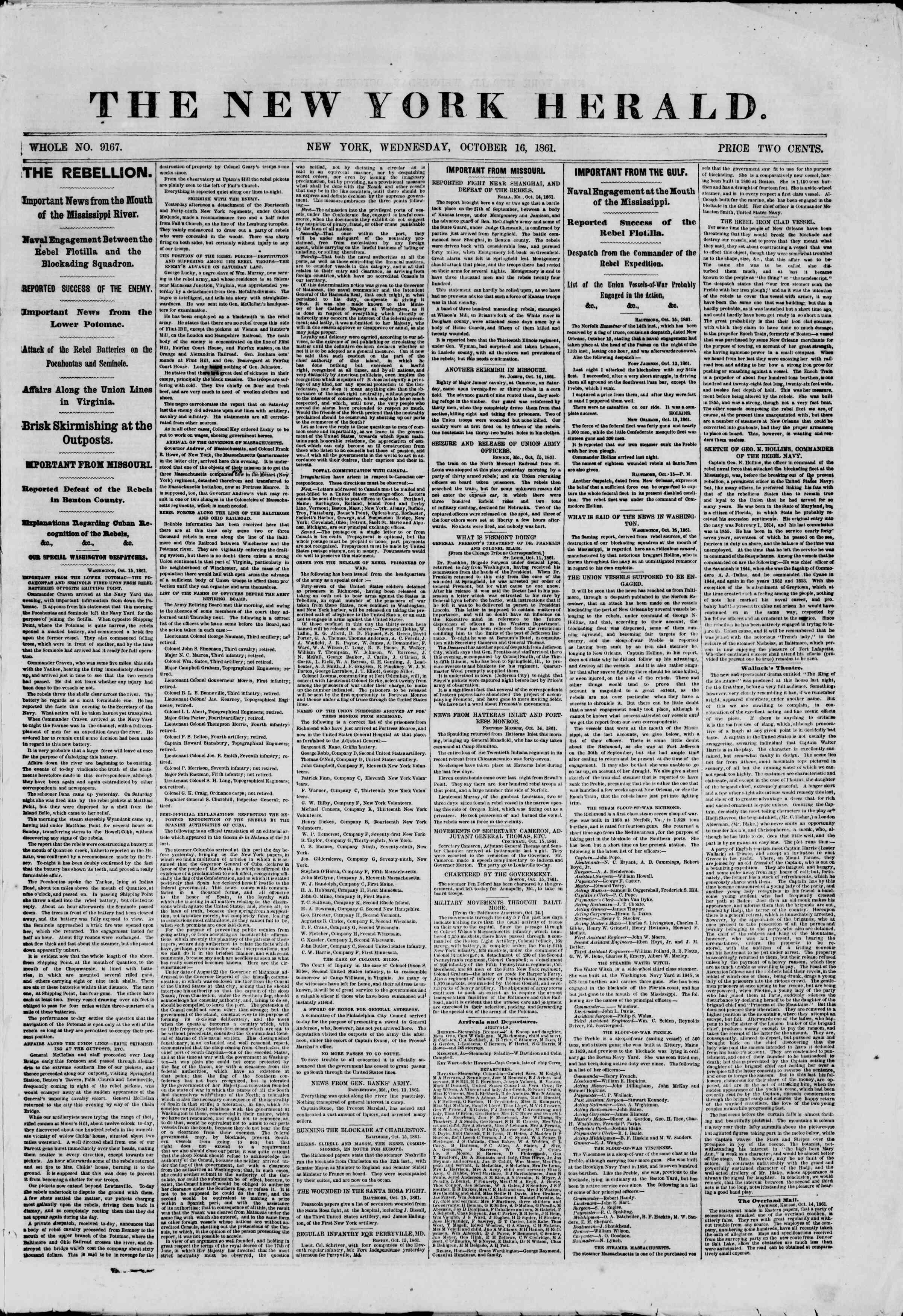 16 Ekim 1861 tarihli The New York Herald Gazetesi Sayfa 1