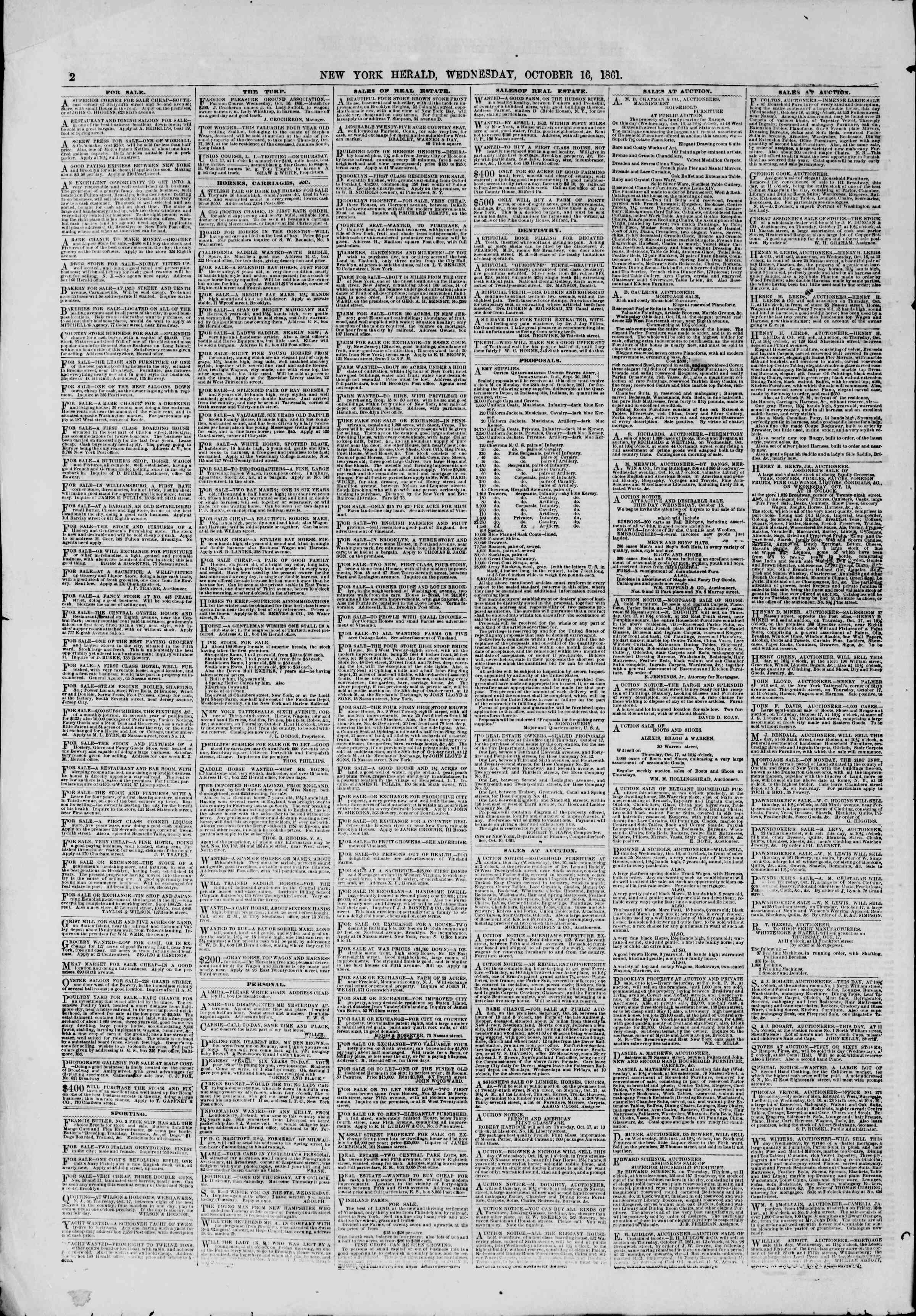 Newspaper of The New York Herald dated October 16, 1861 Page 2