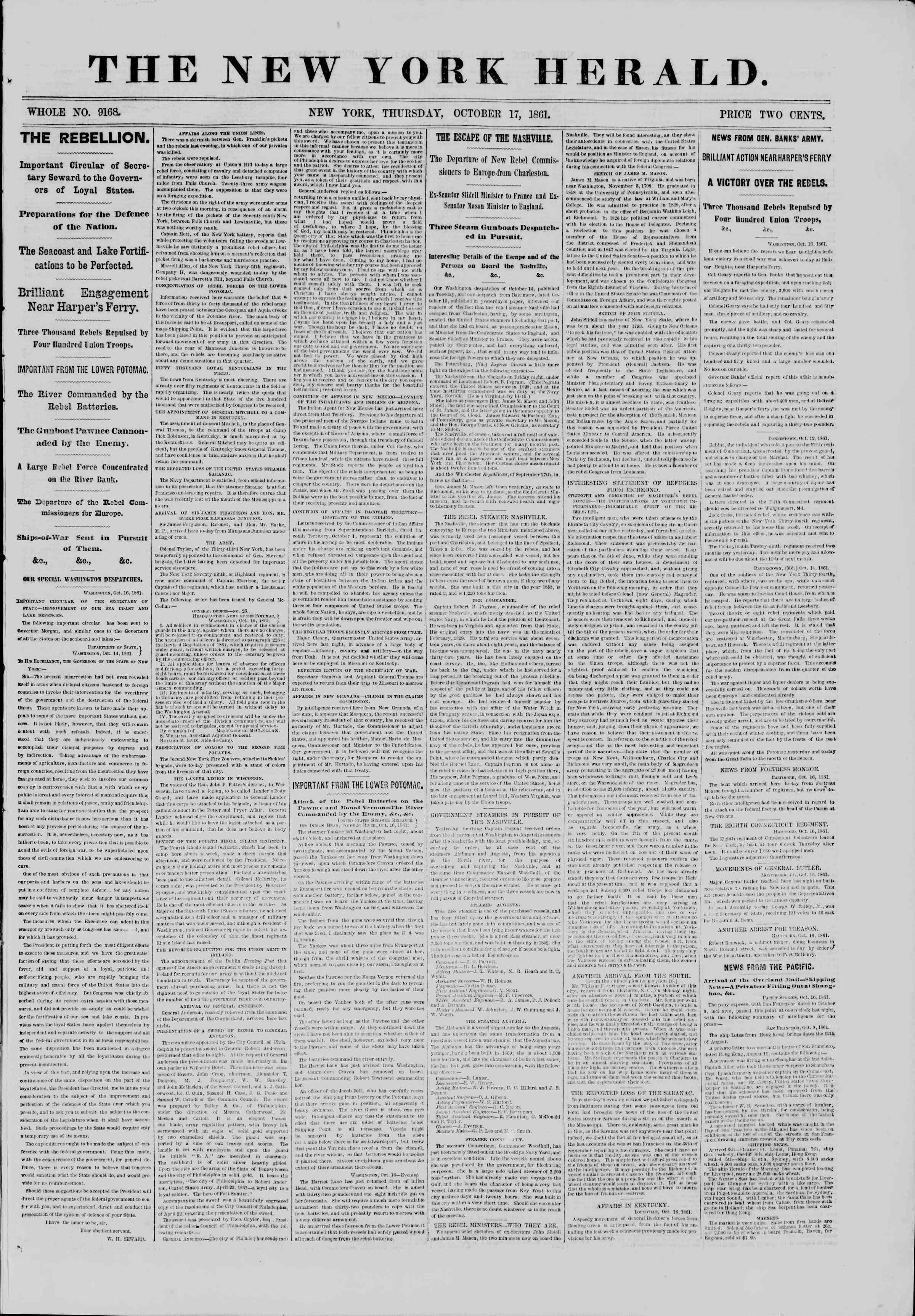 Newspaper of The New York Herald dated October 17, 1861 Page 1