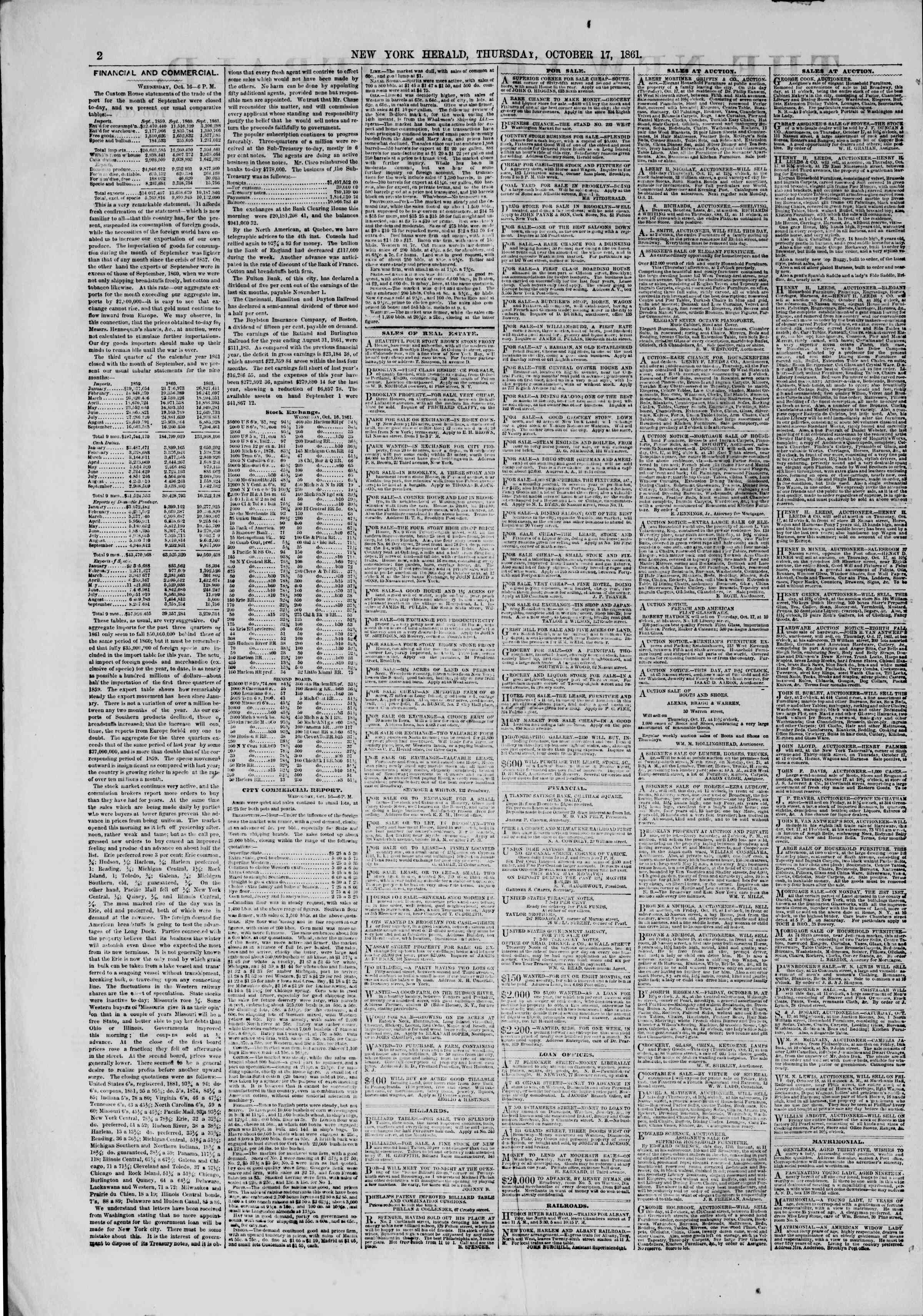 Newspaper of The New York Herald dated October 17, 1861 Page 2